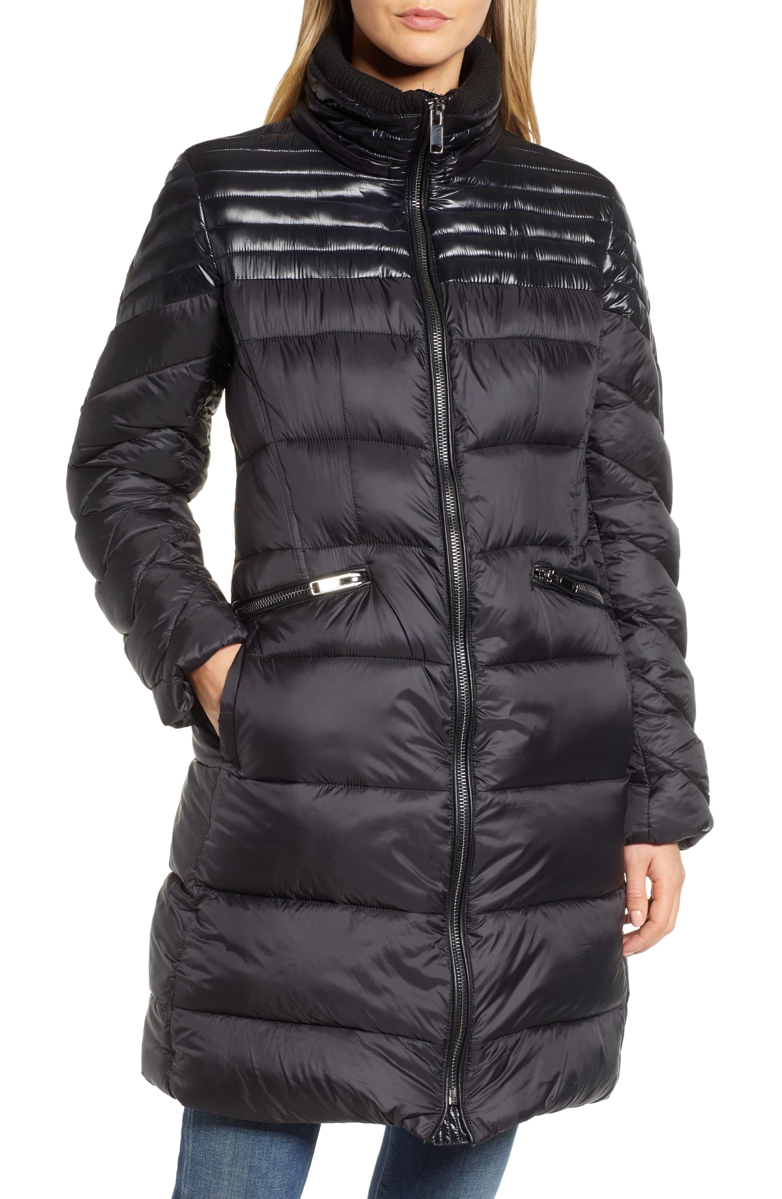 RACHEL RACHEL ROY,                             Faux Fur Detail Water Resistant Puffer Coat,                             Alternate thumbnail 5, color,                             BLACK