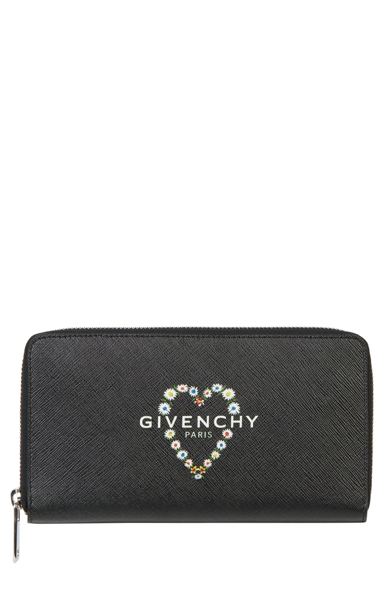 GIVENCHY,                             Flower Heart Logo Continental Wallet,                             Main thumbnail 1, color,                             BLACK