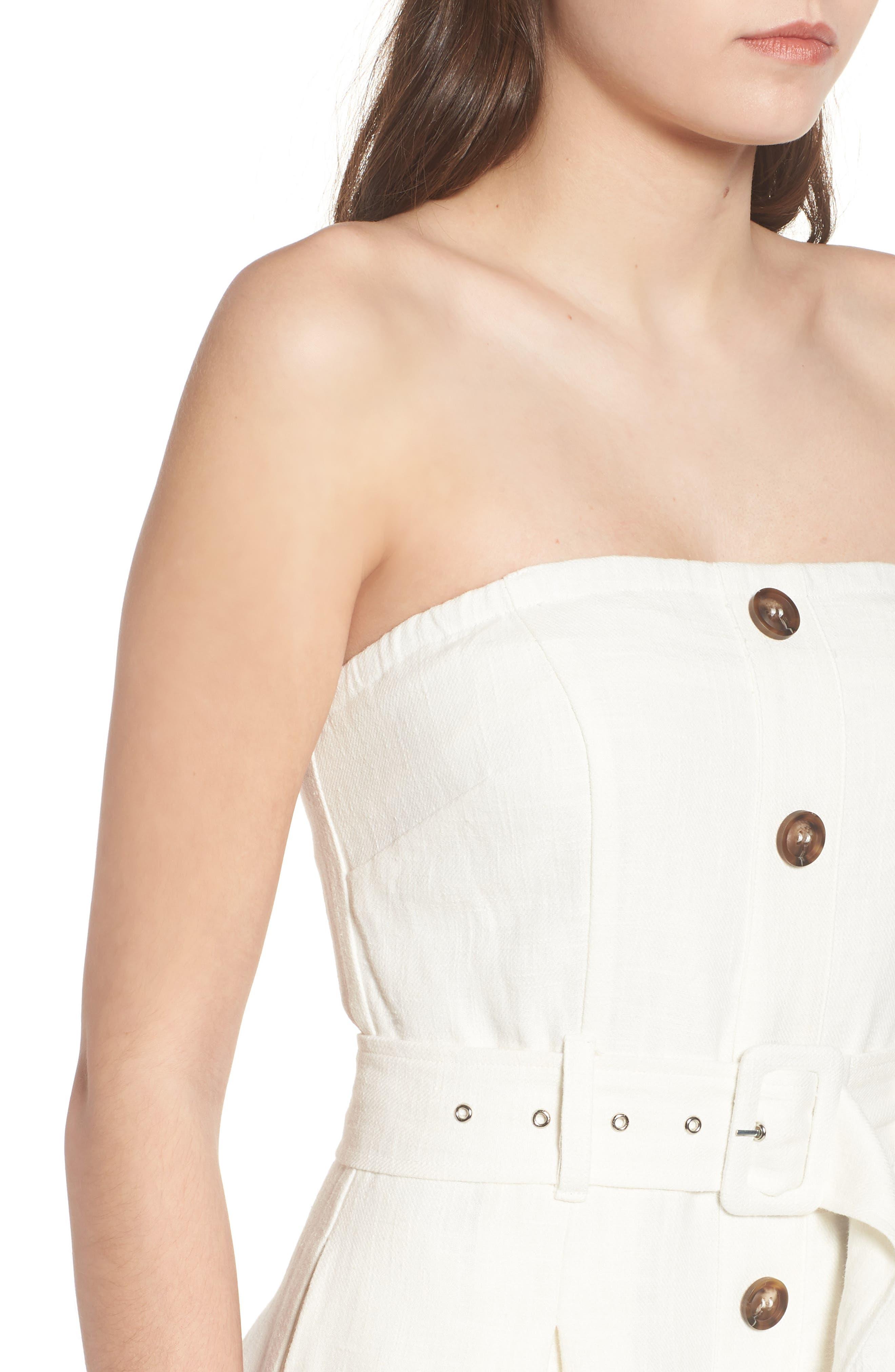 Linen & Cotton Strapless Dress,                             Alternate thumbnail 4, color,