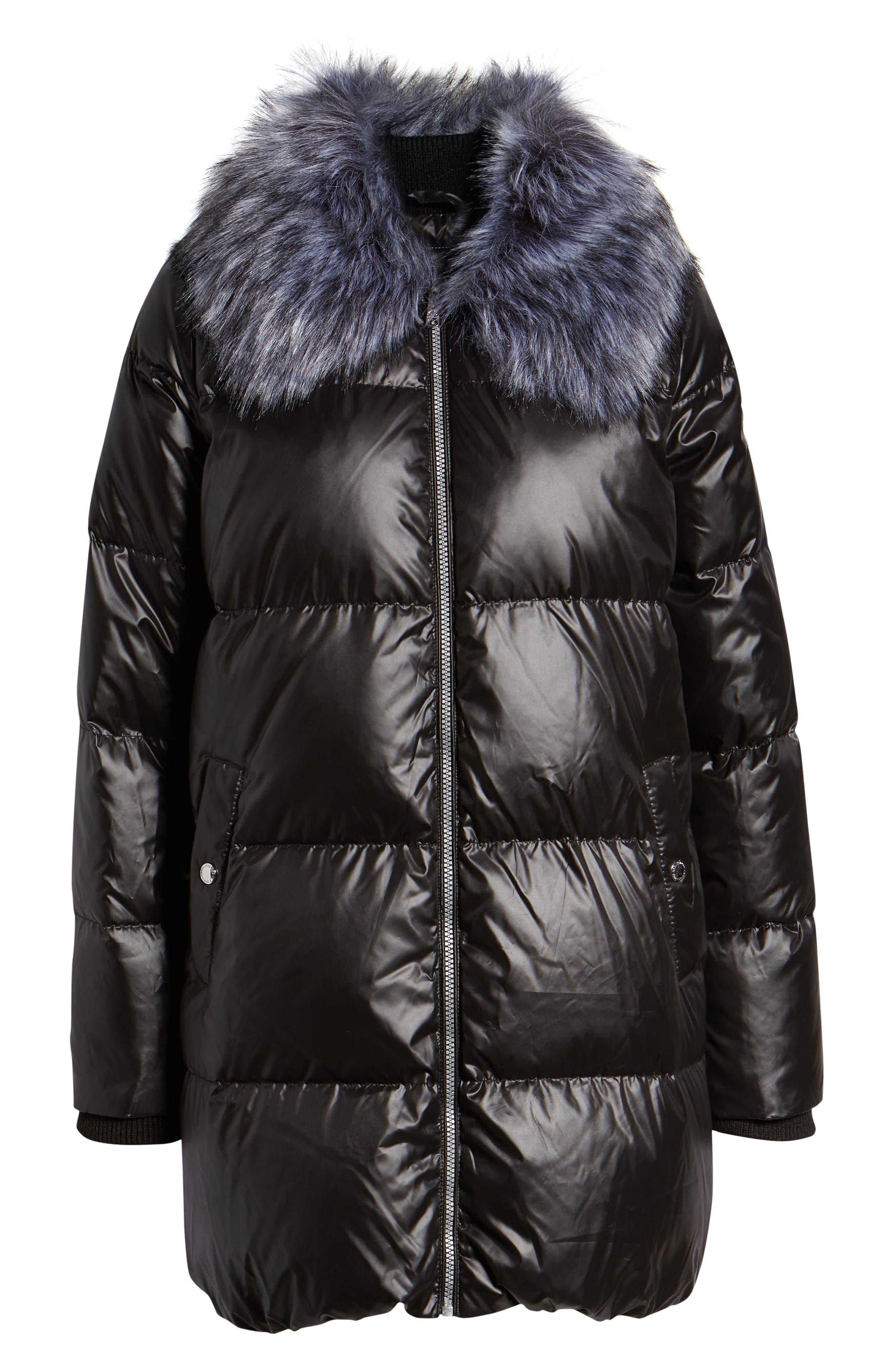 SAM EDELMAN,                             Cire Faux Fur Trim Down Quilted Coat,                             Alternate thumbnail 6, color,                             BLACK