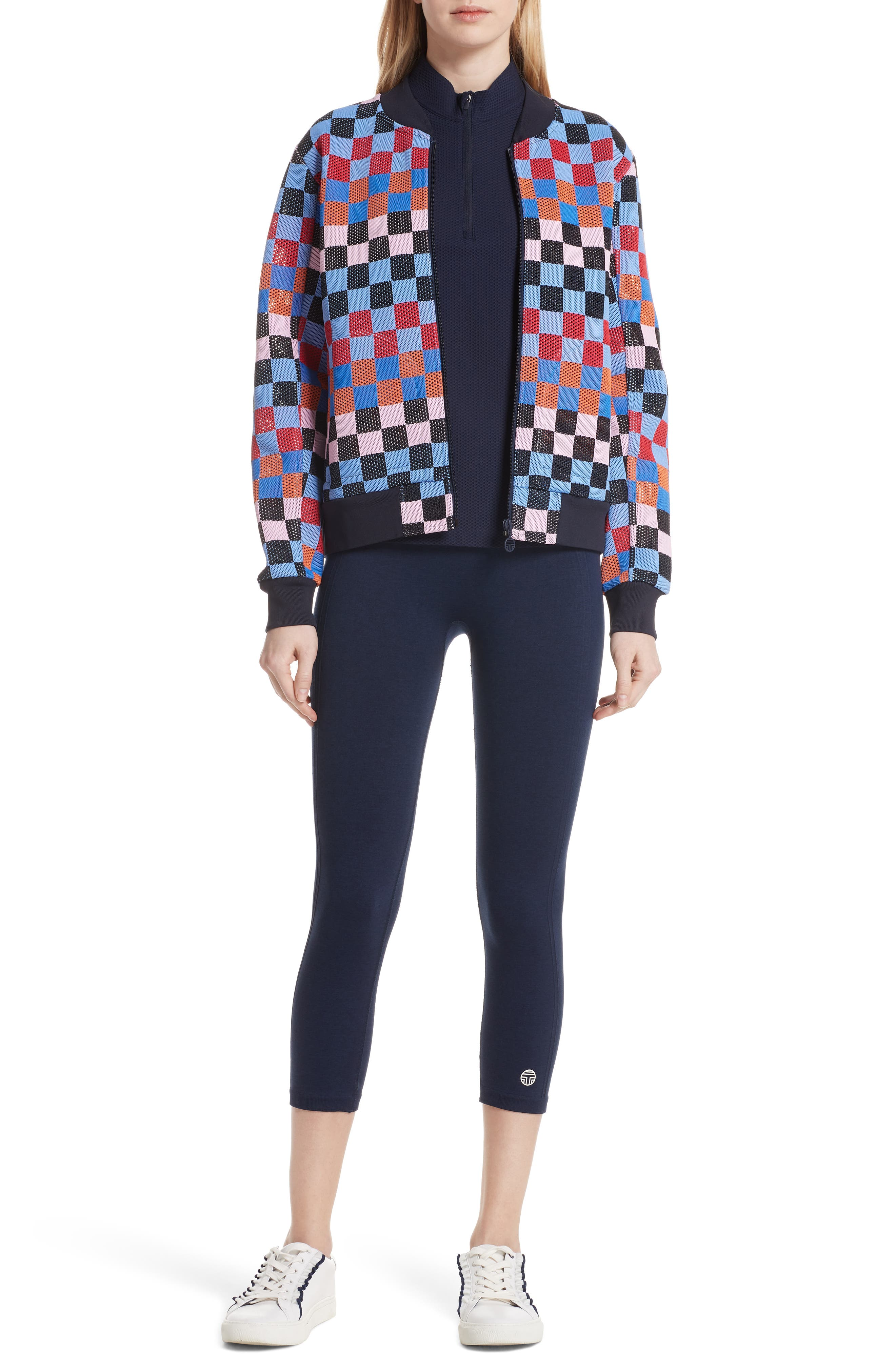 Checker Quarter Zip Mesh Top,                             Alternate thumbnail 7, color,                             TORY NAVY