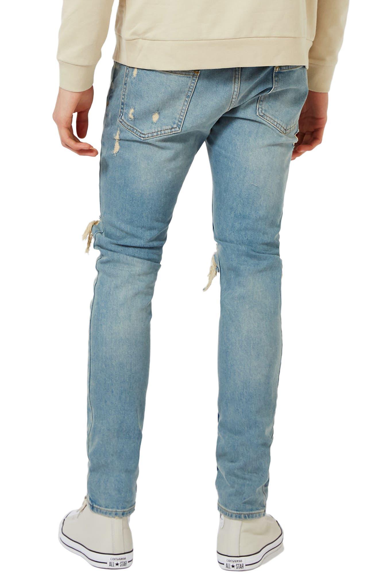 Ripped Stretch Skinny Jeans,                             Alternate thumbnail 2, color,                             LIGHT WASH DENIM
