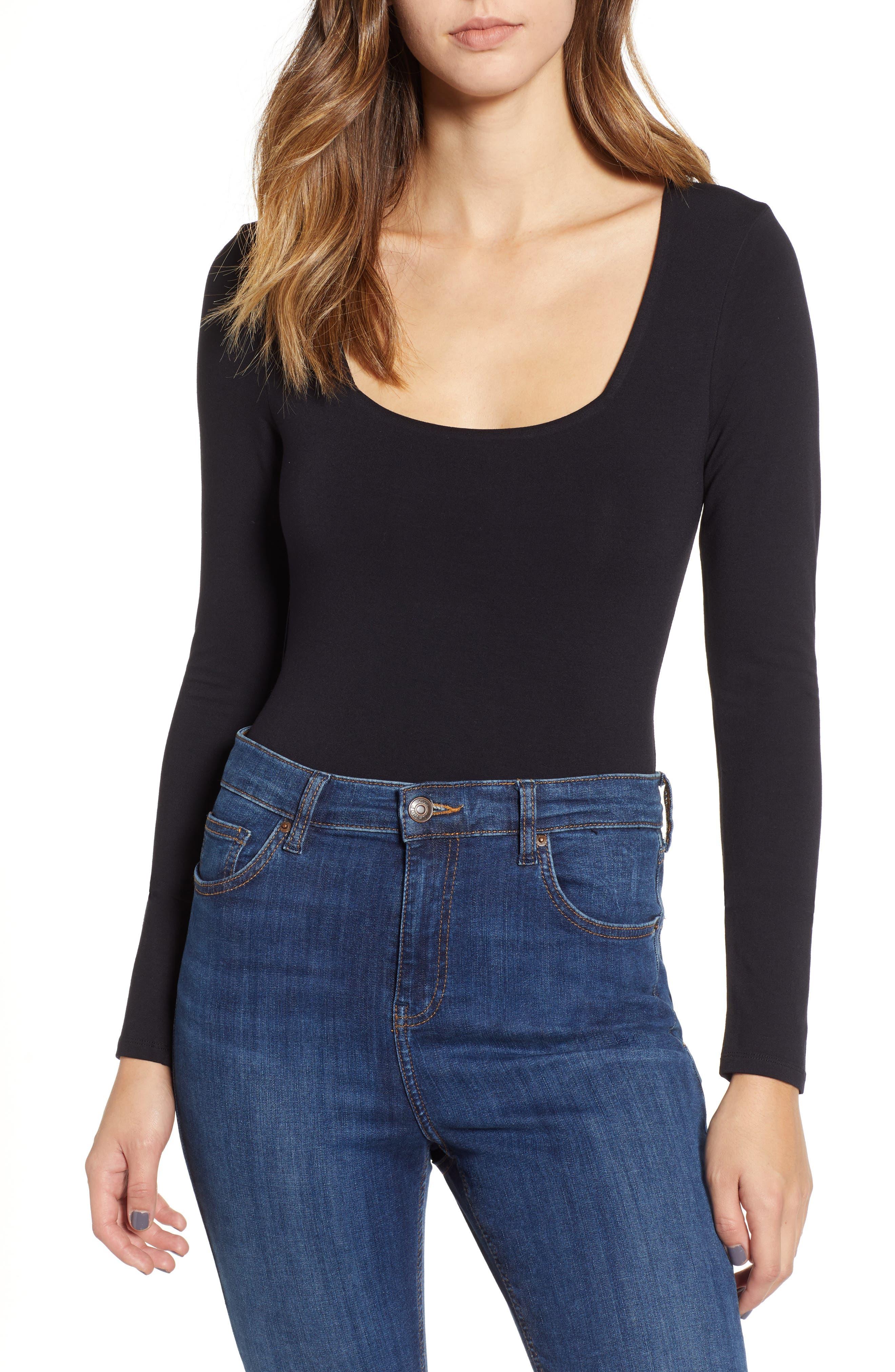 Square Neck Bodysuit,                         Main,                         color, BLACK