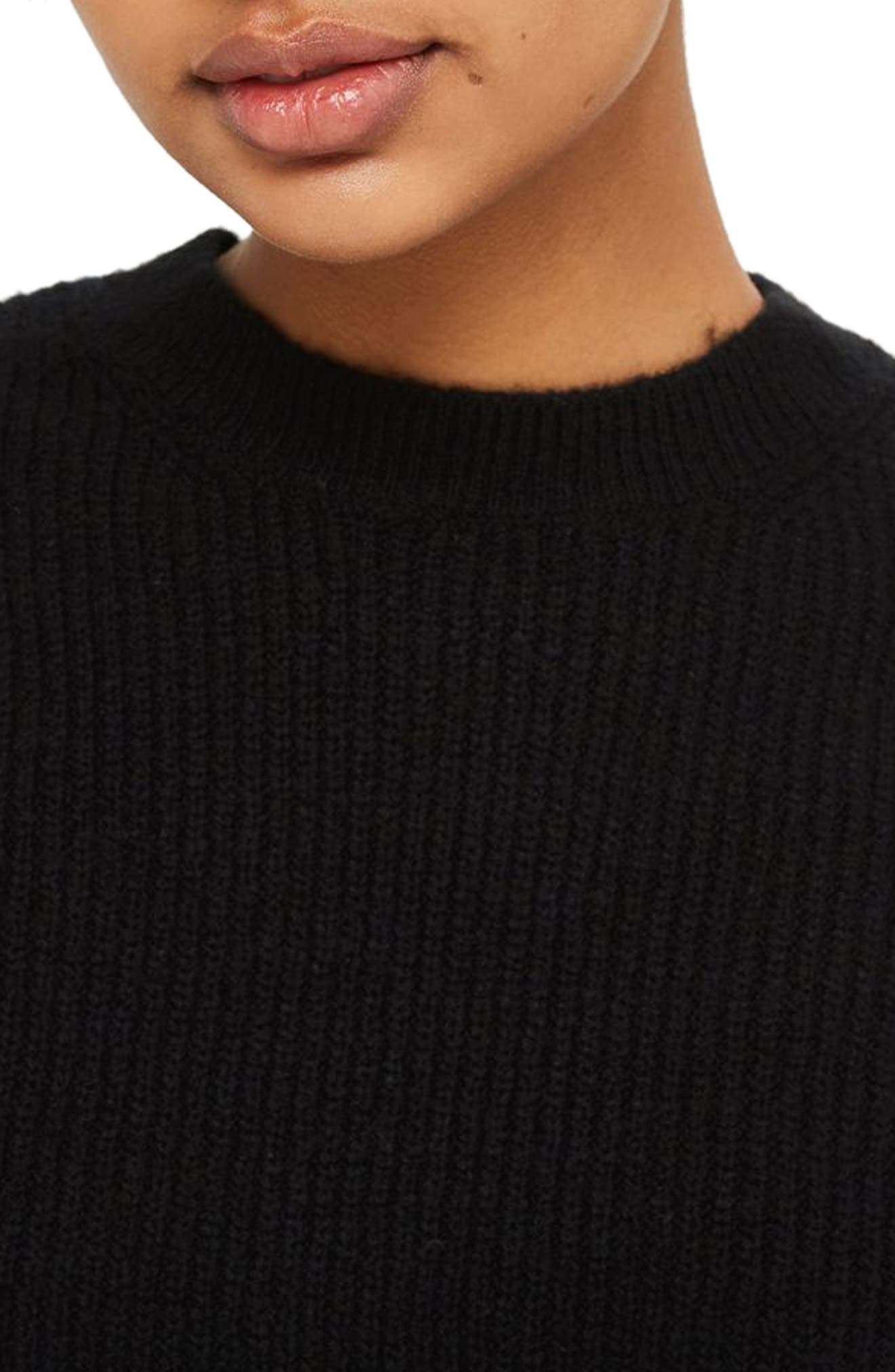 Ribbed Crewneck Sweater,                             Alternate thumbnail 3, color,                             001