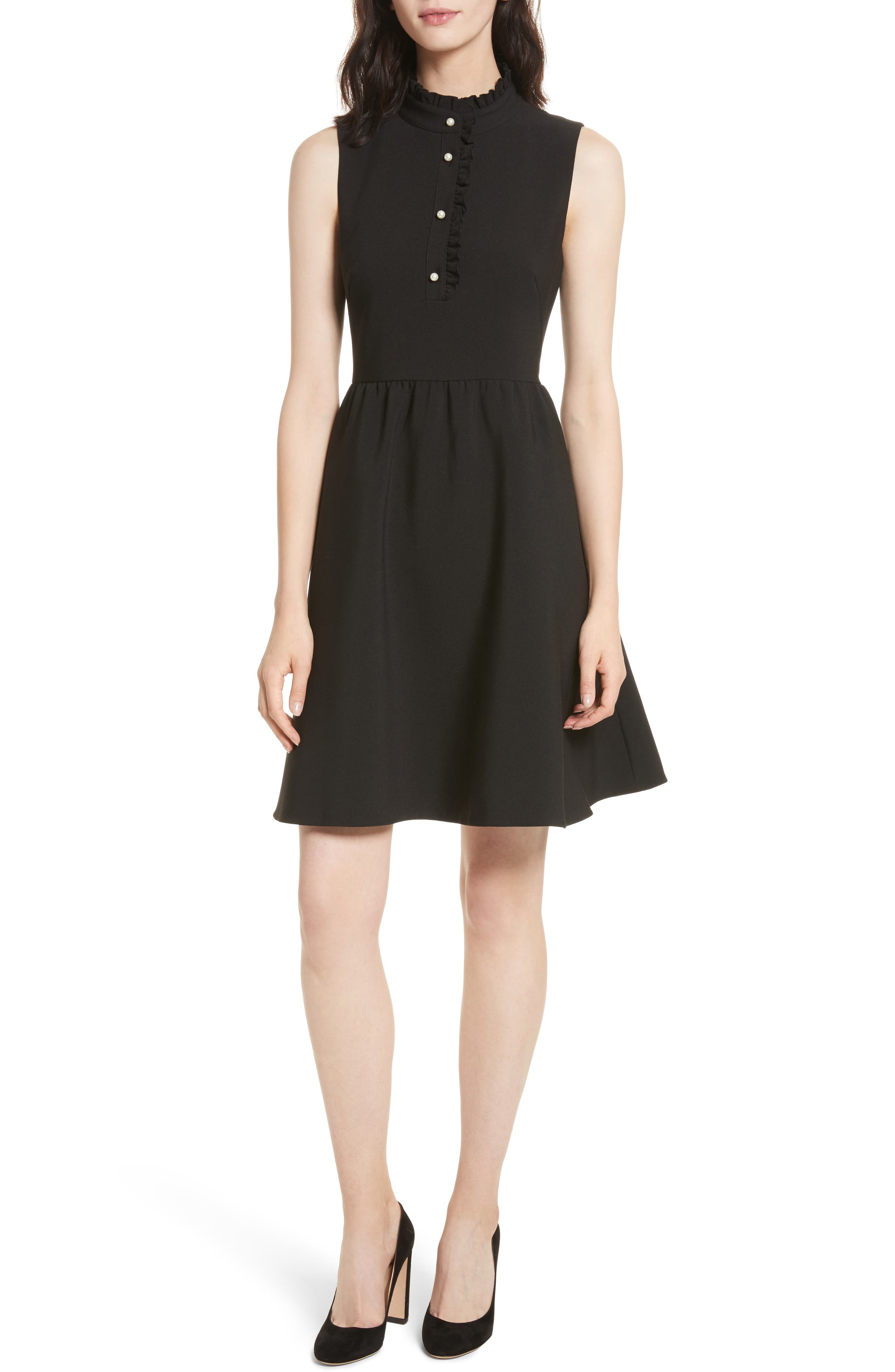 ruffle front crepe dress,                             Main thumbnail 1, color,                             001