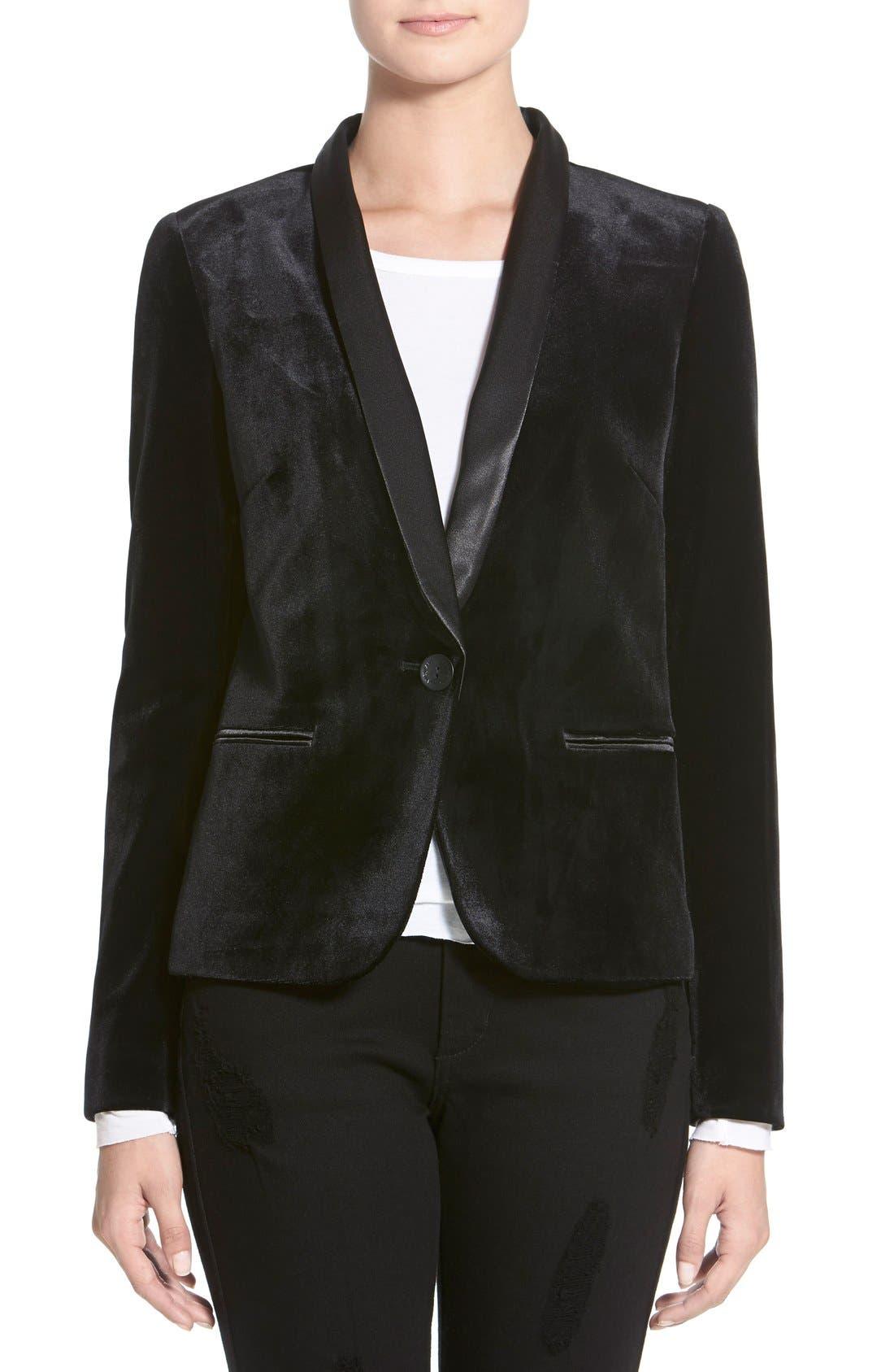 Satin Combo Jacket,                         Main,                         color, 001