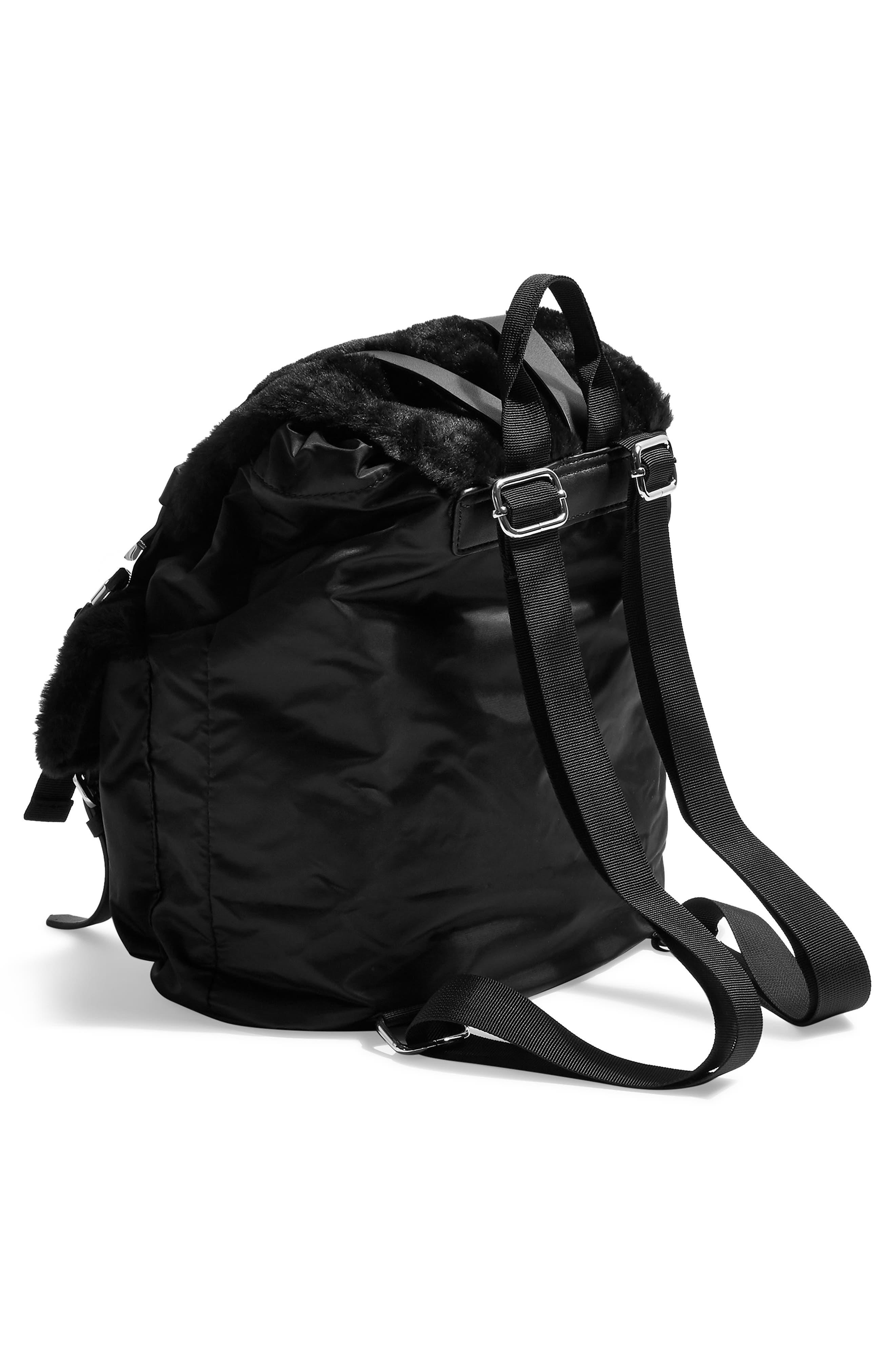 Boston Faux Fur Backpack,                             Alternate thumbnail 3, color,                             BLACK