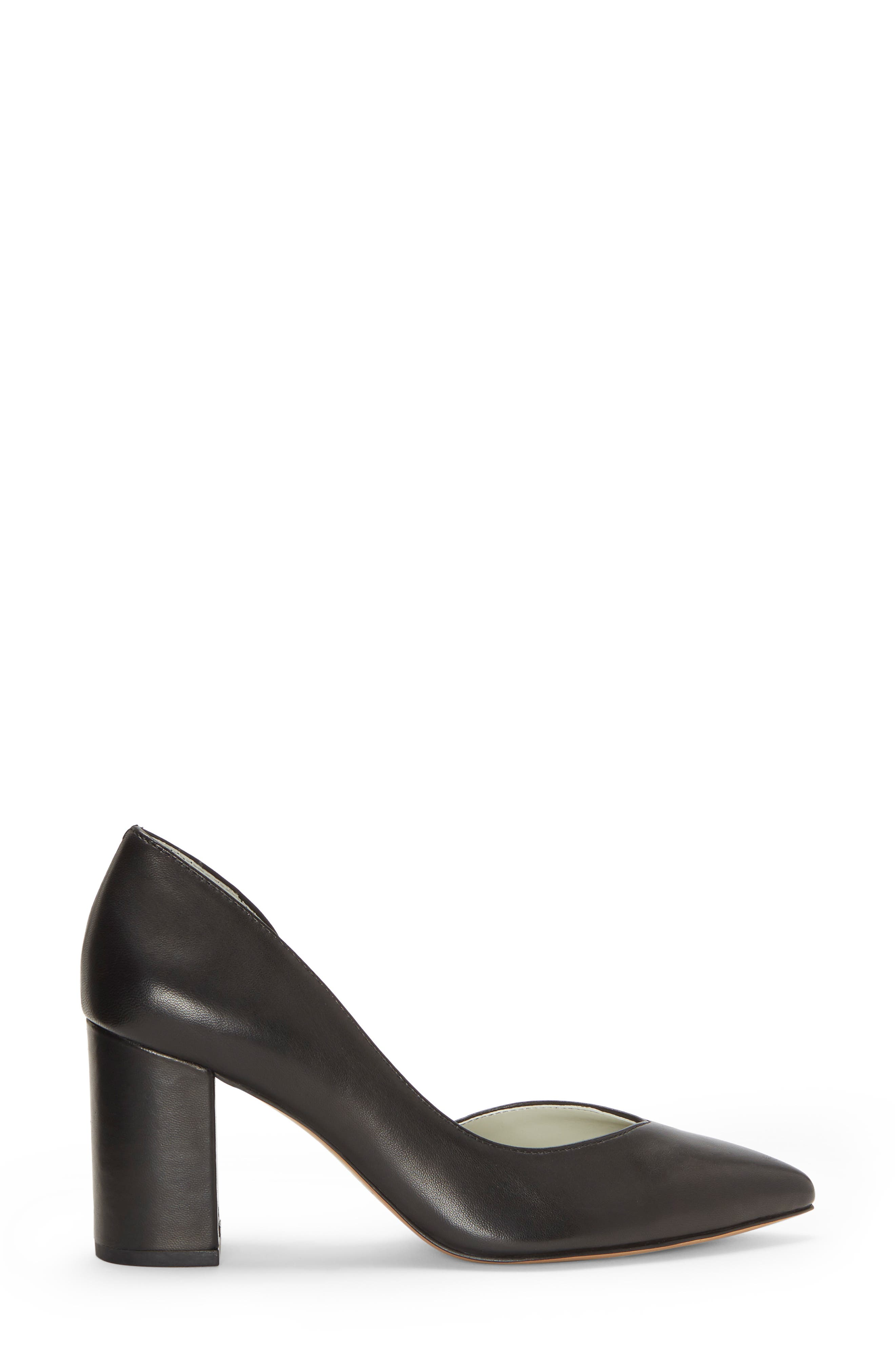 Sisteen Half d'Orsay Pump,                             Alternate thumbnail 3, color,                             BLACK LEATHER