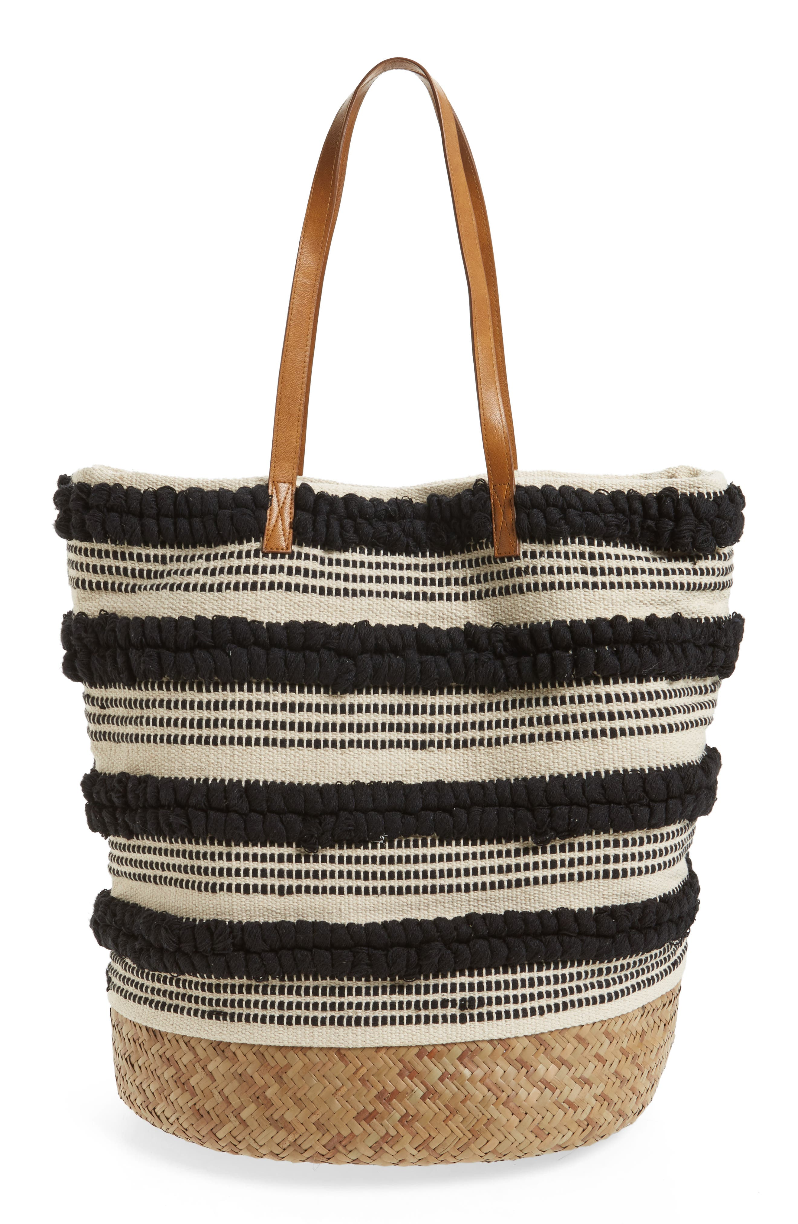 Woven Bottom Tote,                             Alternate thumbnail 3, color,                             001