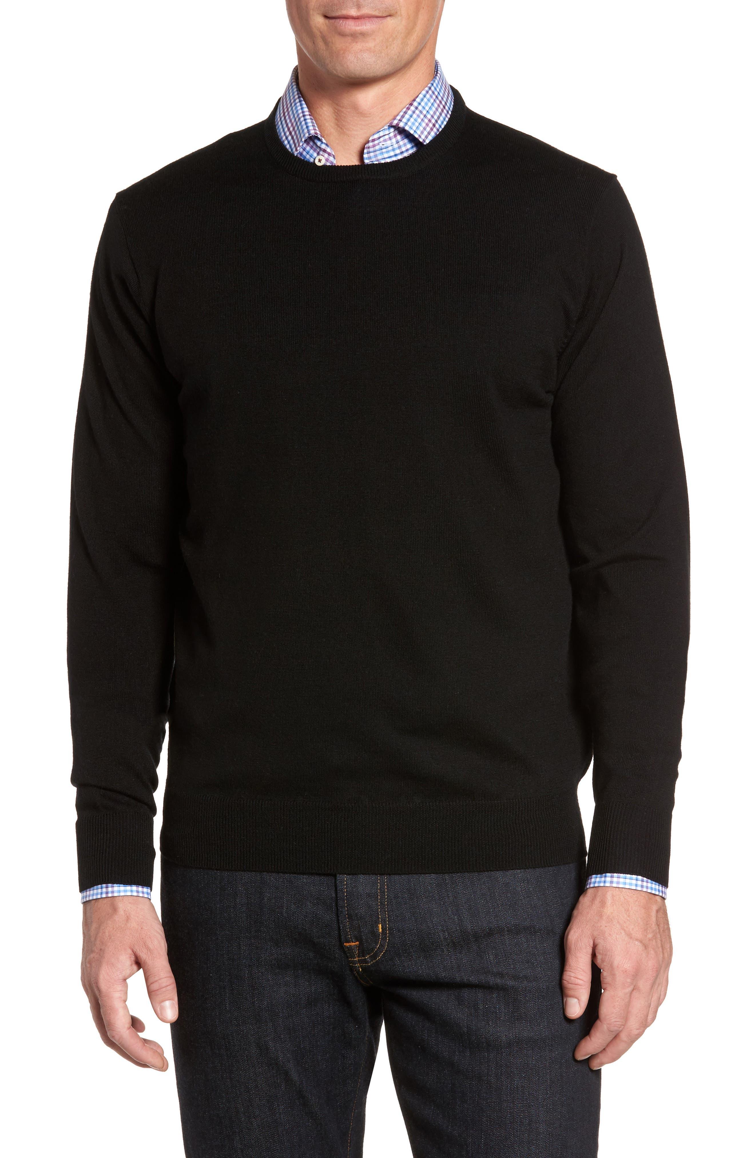 Crown Soft Merino Wool & Silk Crewneck Sweater,                         Main,                         color, 001