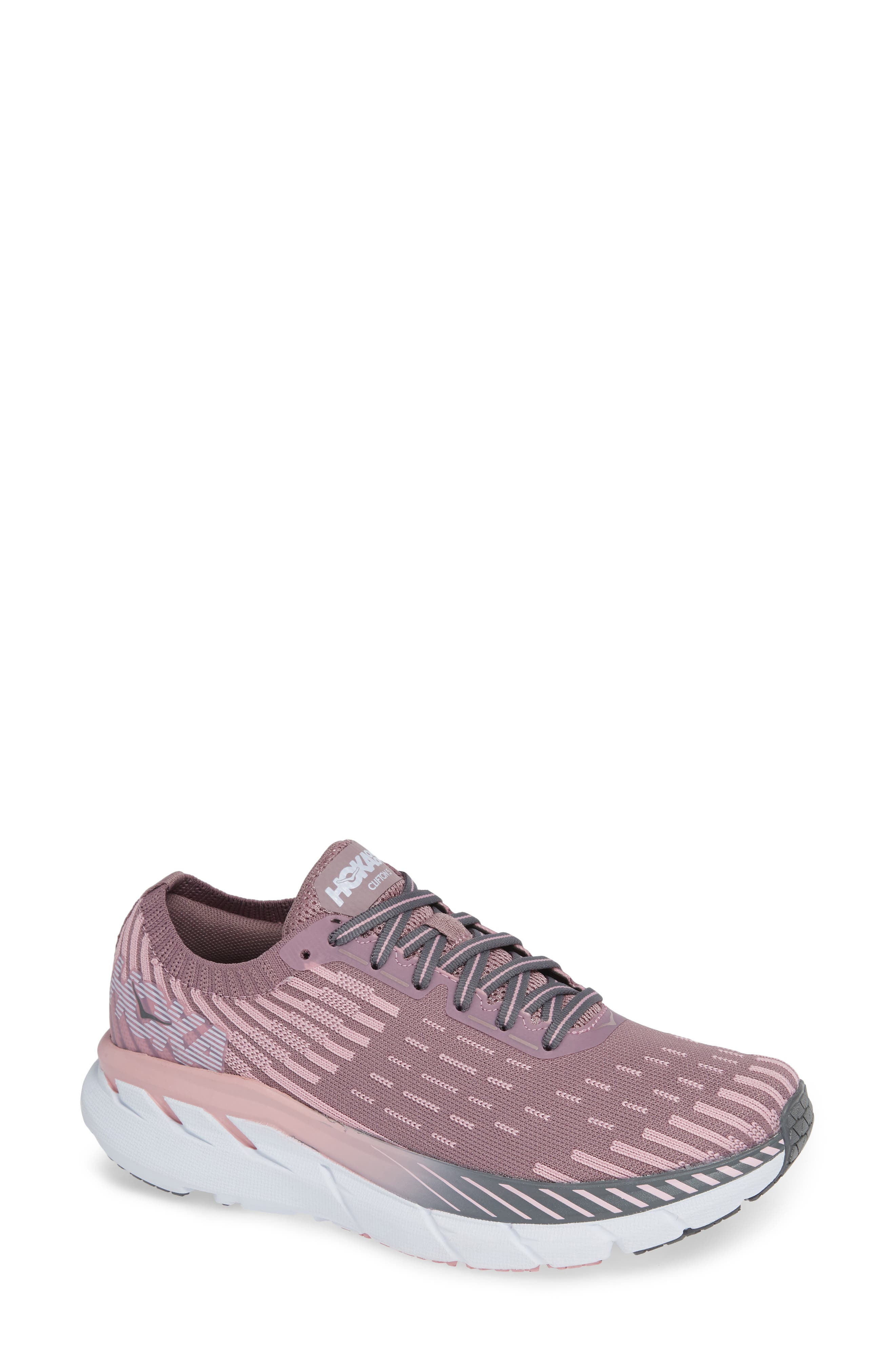 HOKA ONE ONE Clifton 5 Knit Running Shoe in Cameo/ Pink Toadstool