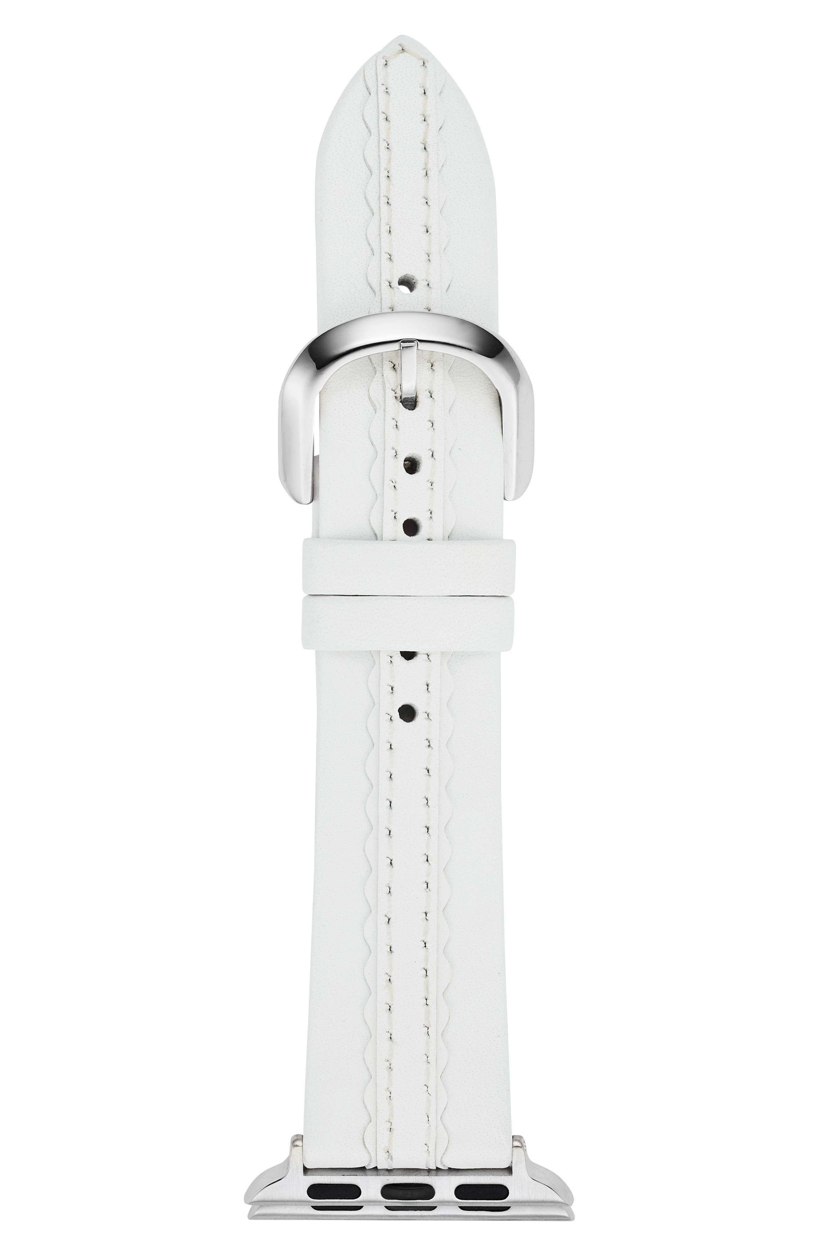 KATE SPADE NEW YORK,                             Apple Watch strap, 38mm,                             Main thumbnail 1, color,                             WHITE