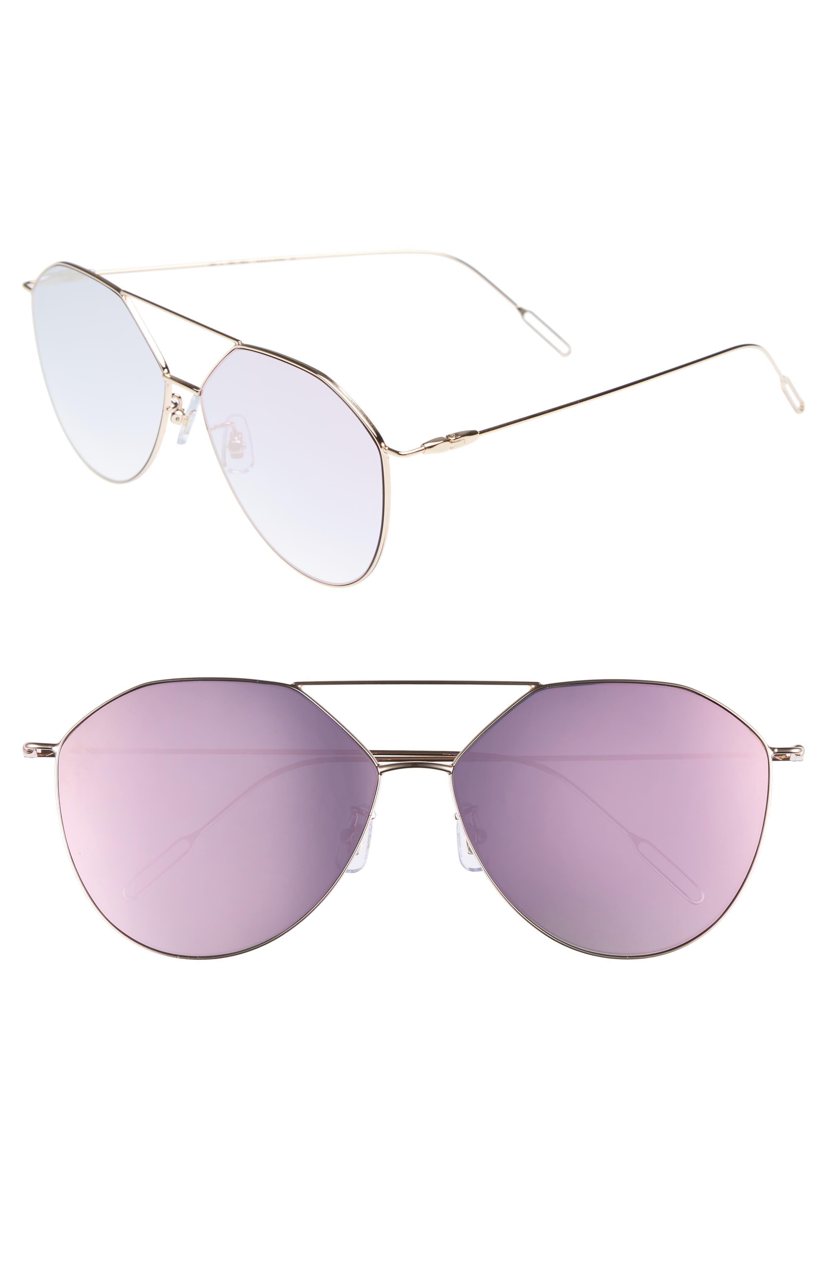55mm Metal Aviator Sunglasses,                         Main,                         color, GOLD /PINK MIRROR