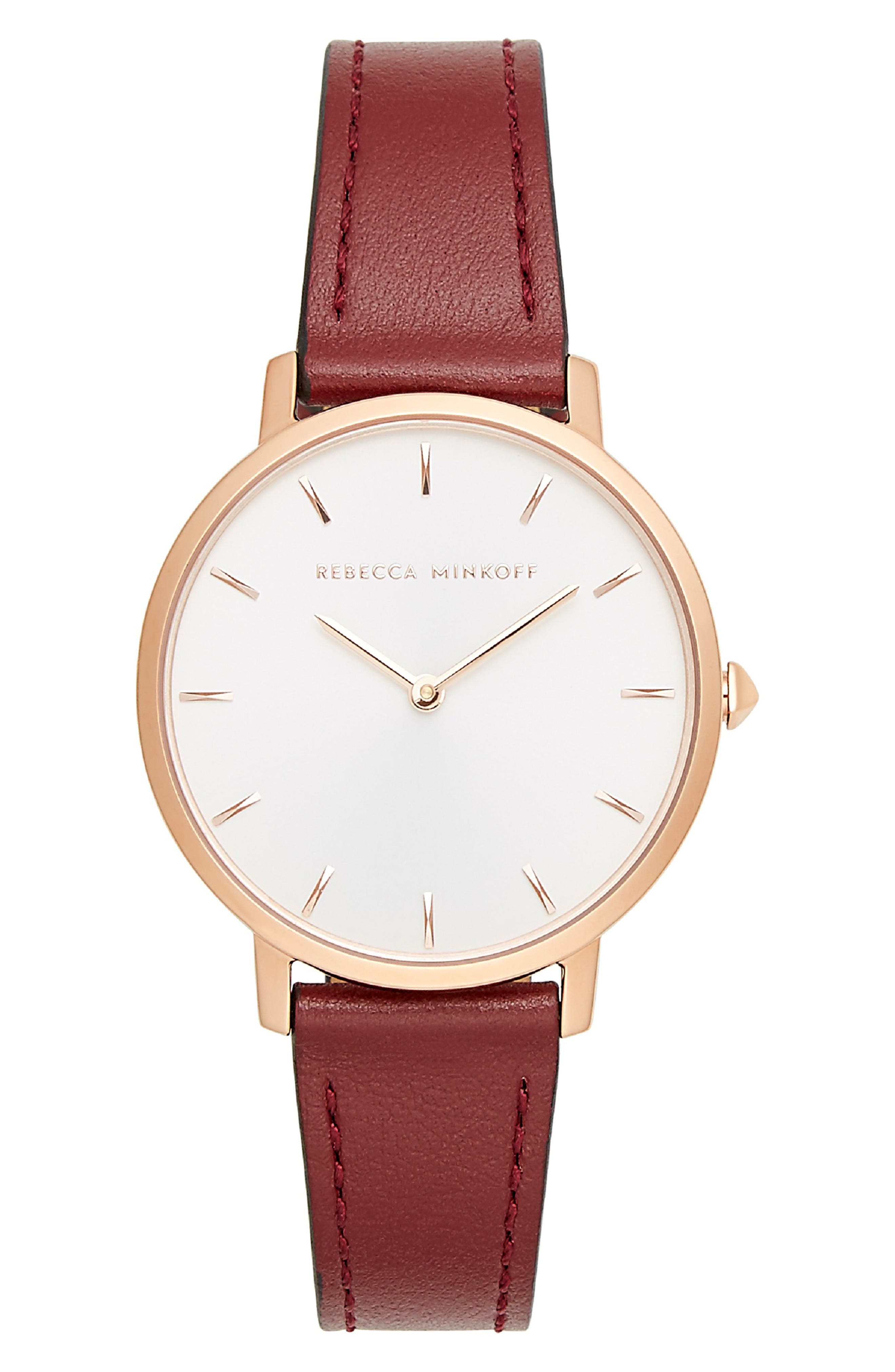 Major Leather Strap Watch, 35mm,                         Main,                         color, BURGUNDY/ SILVER/ ROSE GOLD