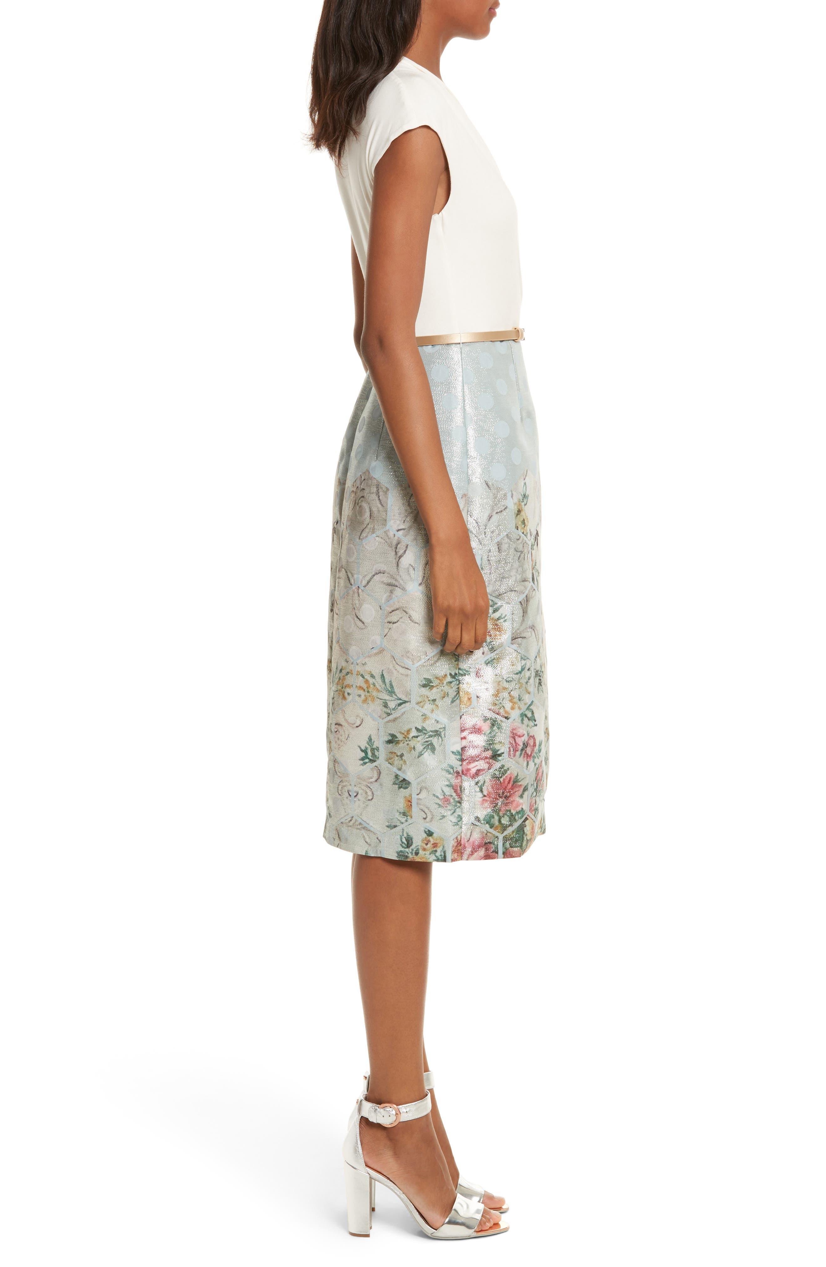 Patchwork Faux Wrap Midi Dress,                             Alternate thumbnail 3, color,                             451