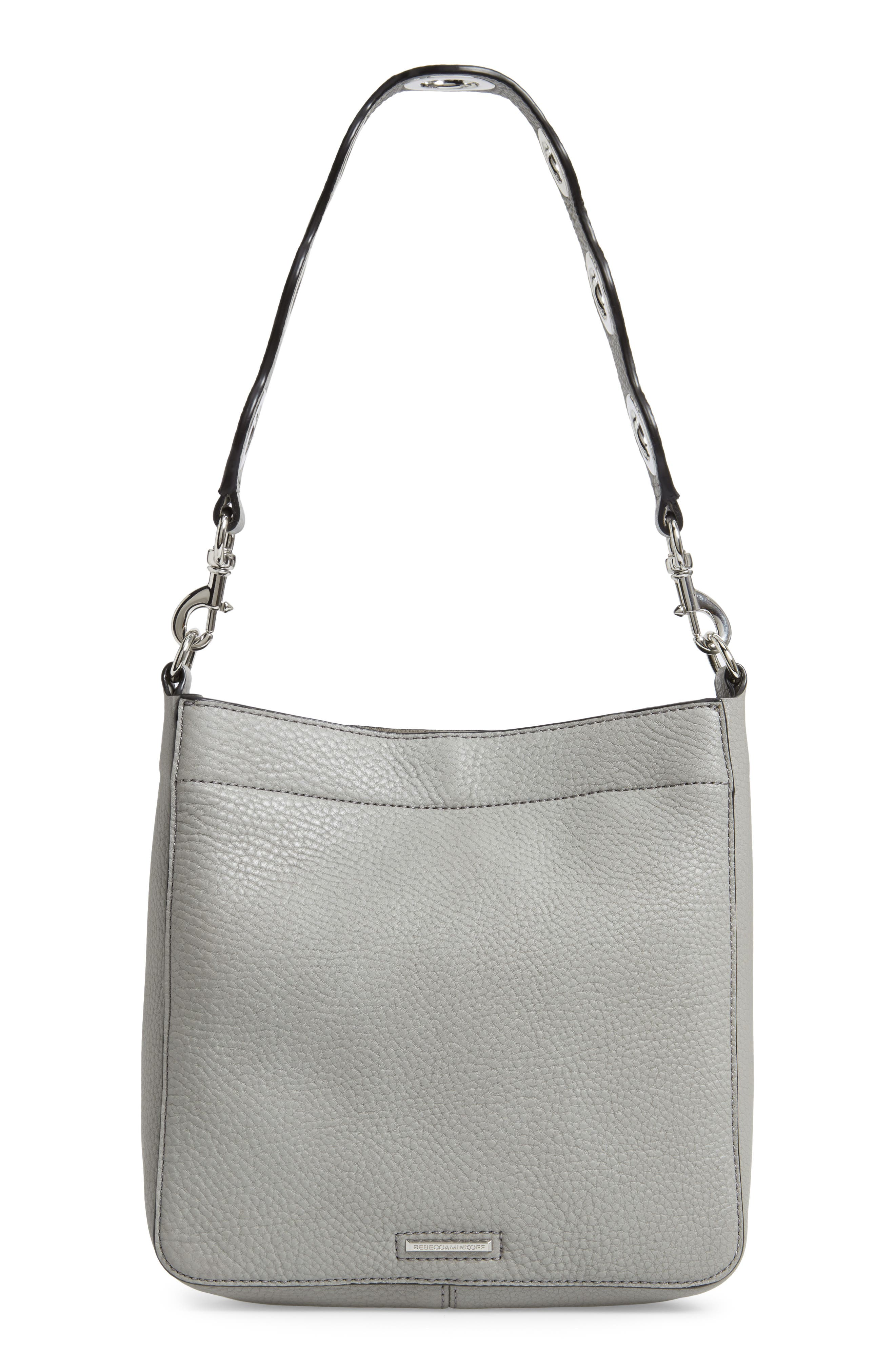 Small Studded Leather Feed Bag,                             Alternate thumbnail 4, color,                             GREY