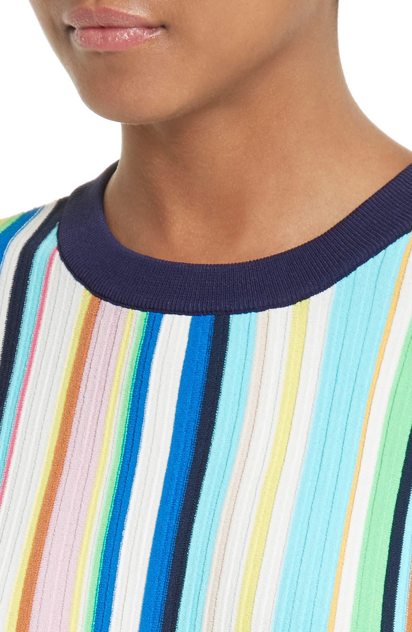 Vertical Stripe Knit Pullover,                             Alternate thumbnail 4, color,                             400