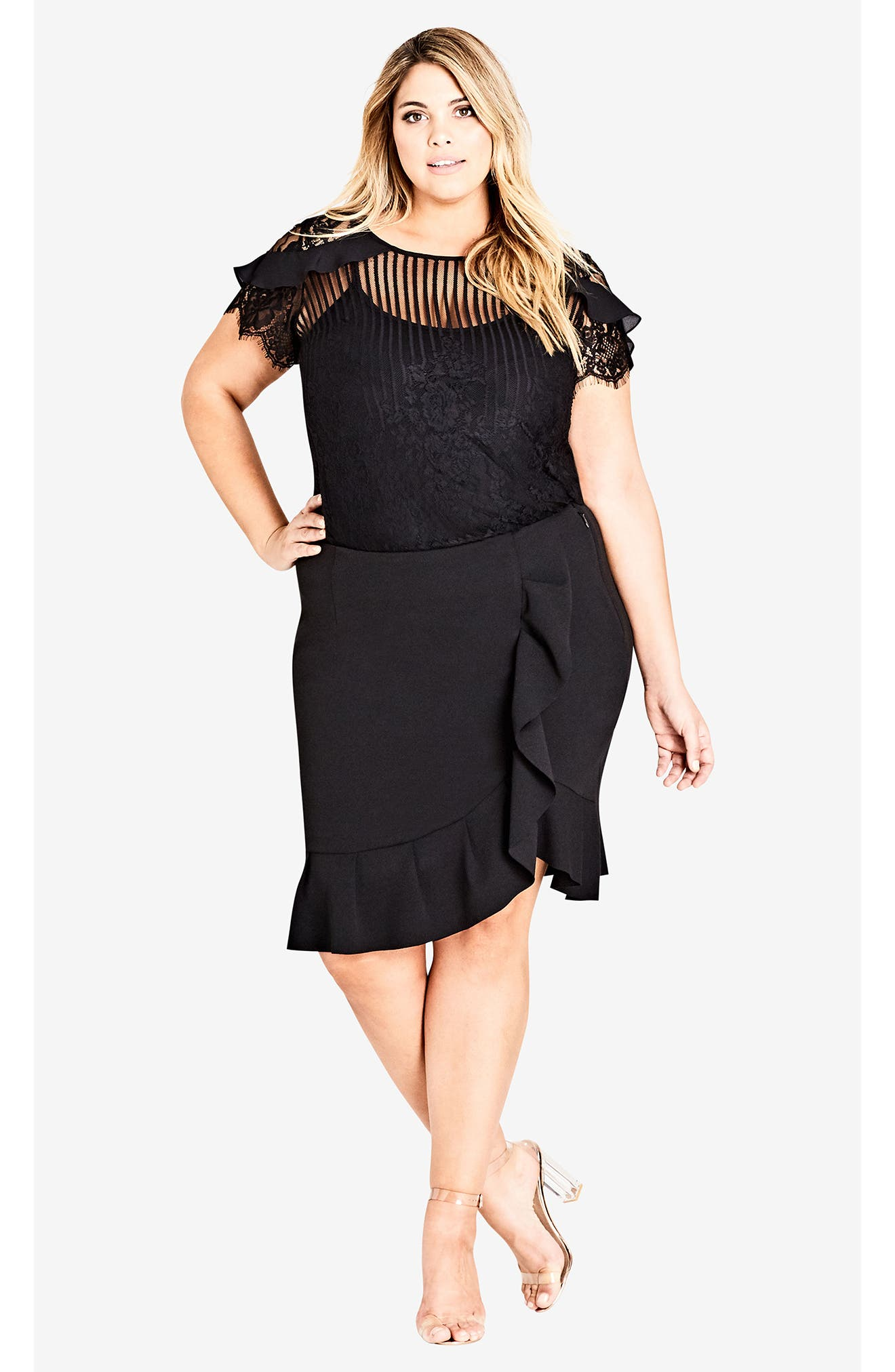 Ruffle Stripe Lace Top,                             Alternate thumbnail 5, color,                             BLACK