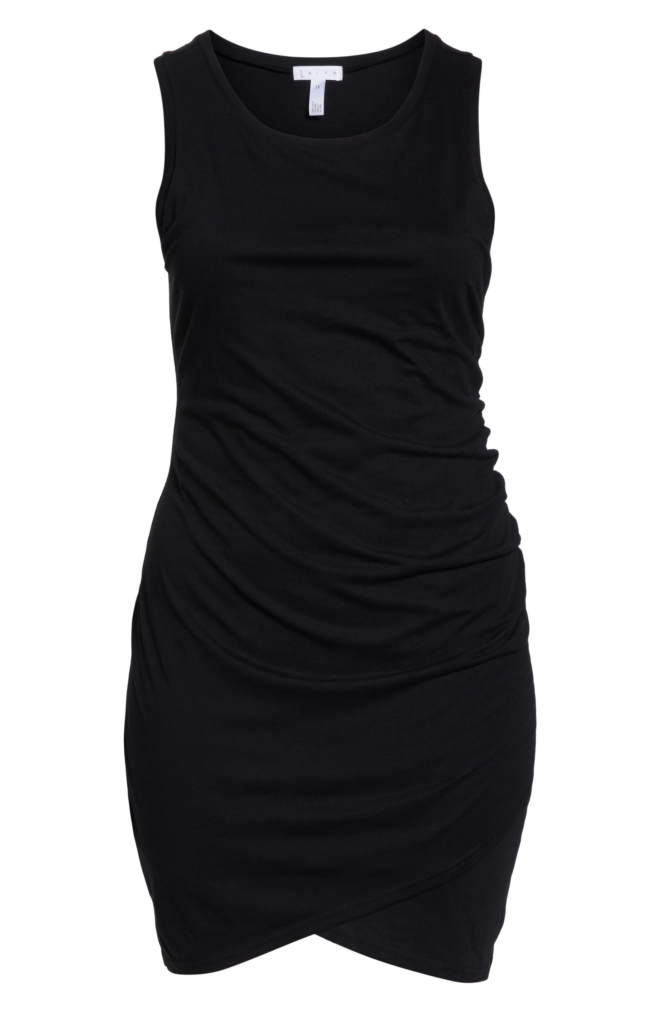 Ruched Sheath Dress,                             Alternate thumbnail 7, color,                             BLACK