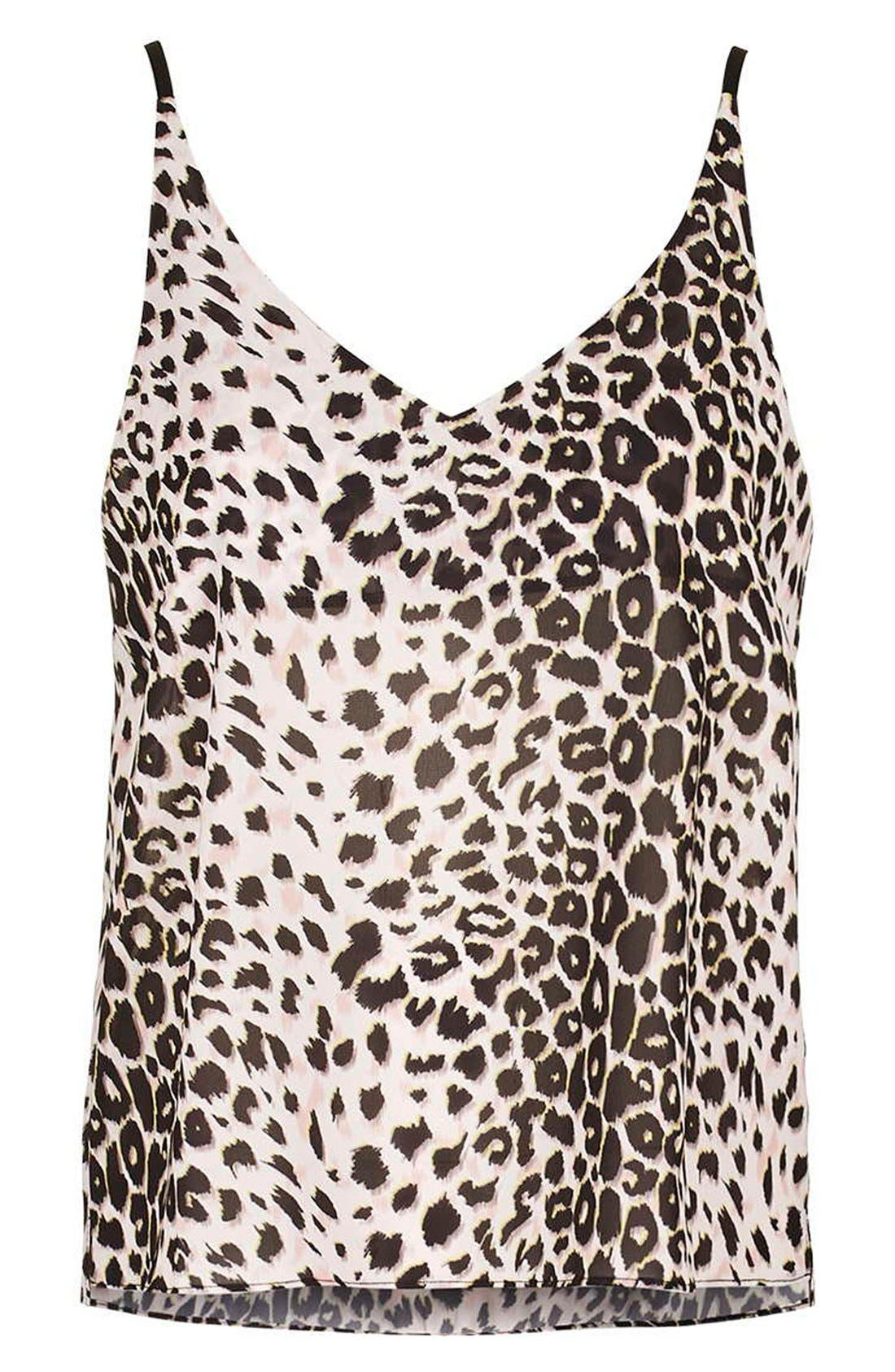 TOPSHOP,                             Leopard Print Camisole,                             Alternate thumbnail 3, color,                             650