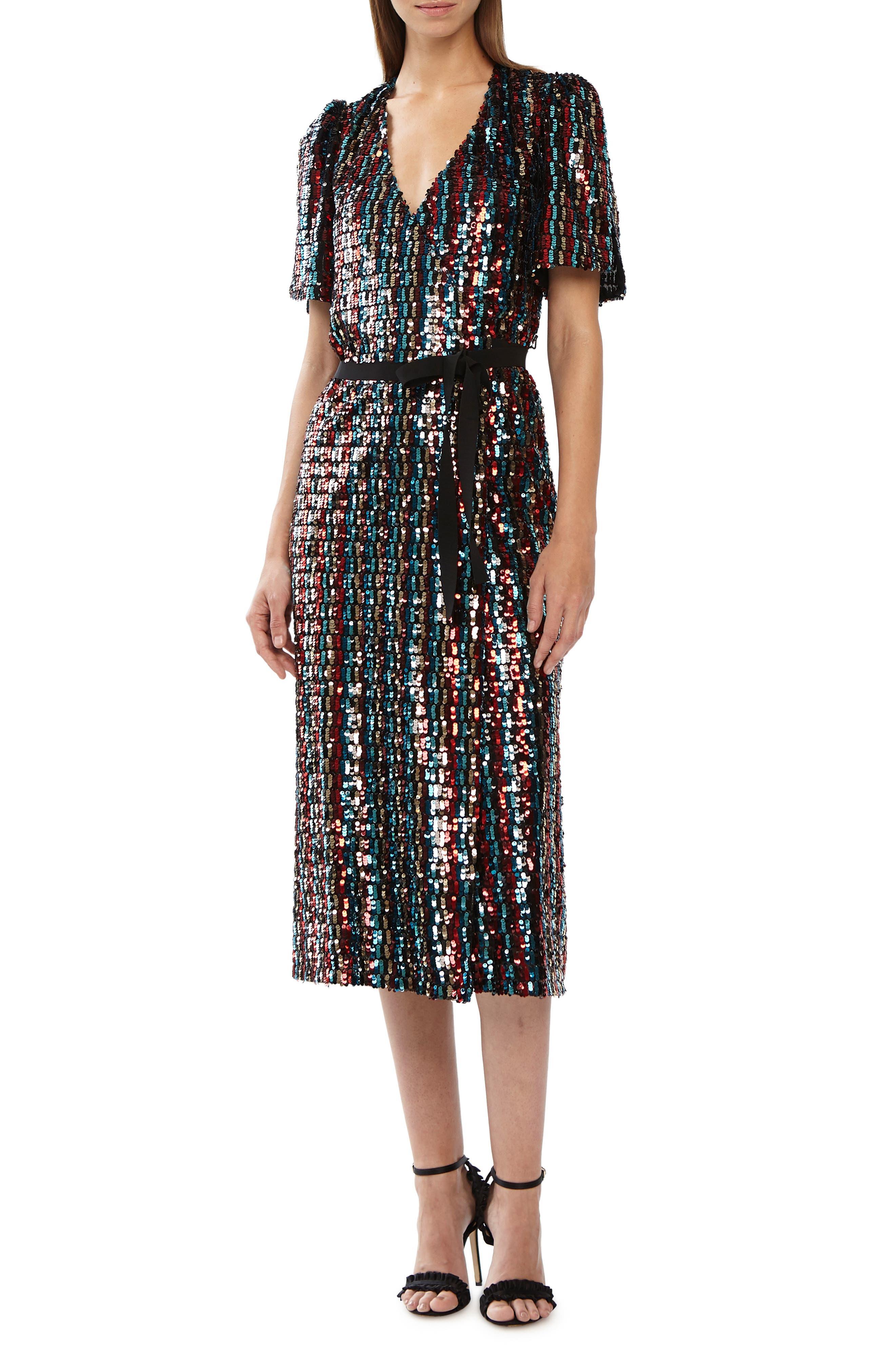 Multicolor Sequin Wrap Dress,                             Alternate thumbnail 6, color,                             MERLOT GOLD