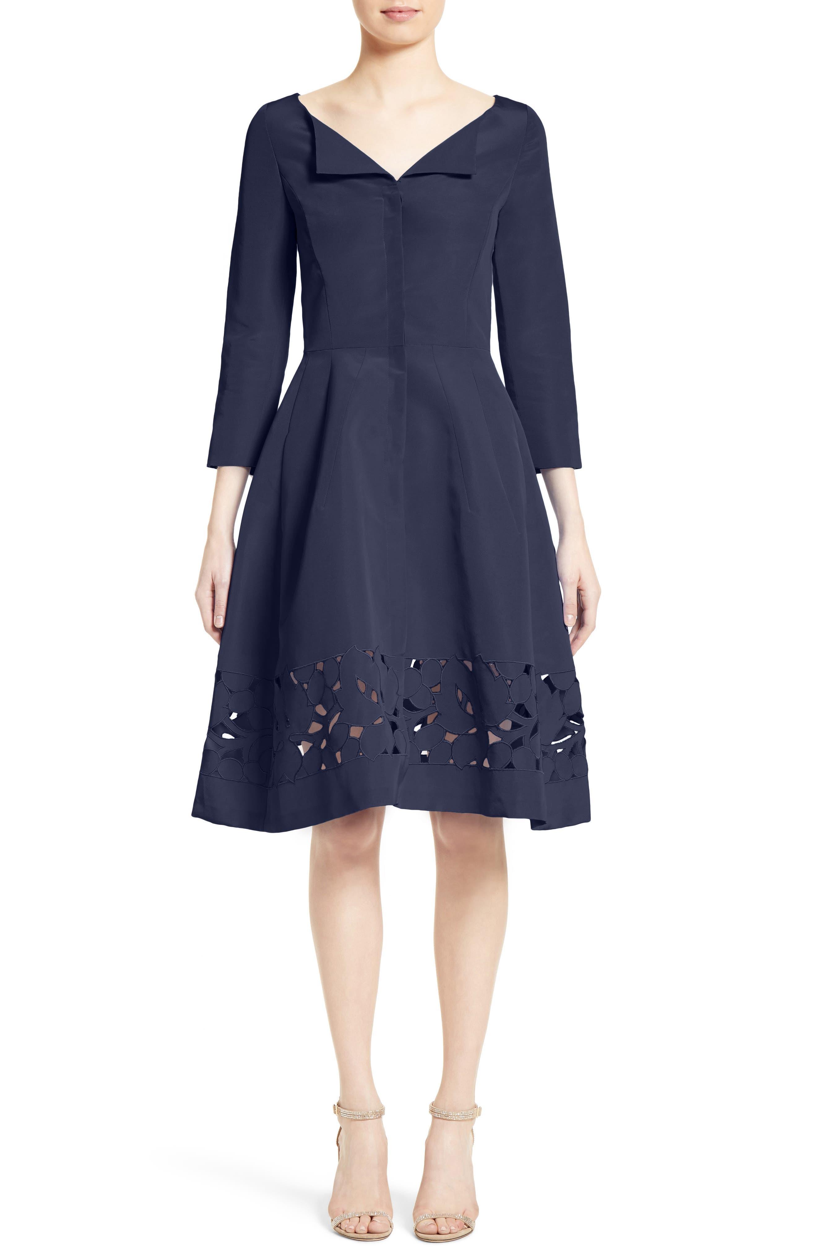 Carolina Herrerra Laser Cut Eyelet Button Front Dress,                         Main,                         color, 400