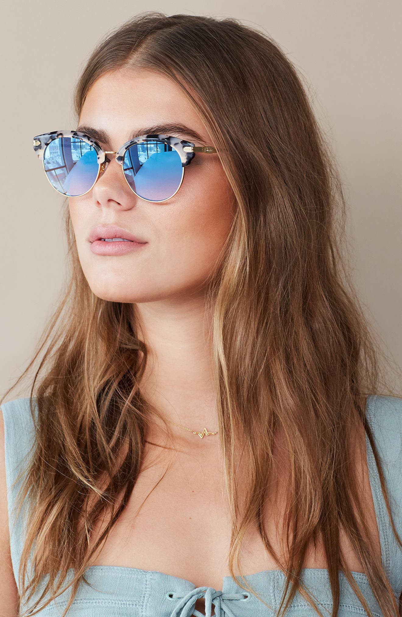 Bellevue 50mm Mirrored Sunglasses,                             Alternate thumbnail 4, color,                             200