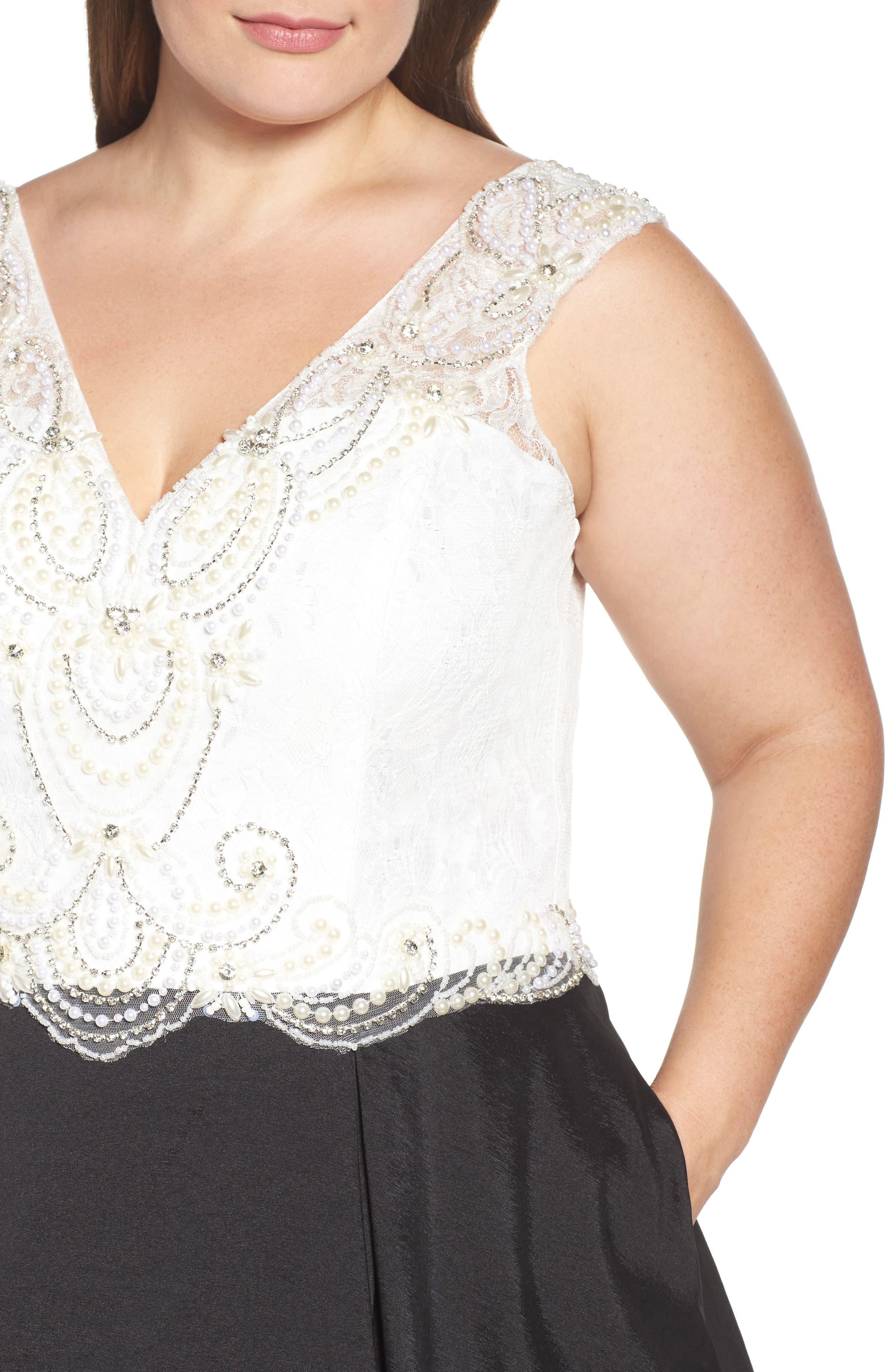 Embellished Lace & Taffeta Ballgown,                             Alternate thumbnail 4, color,