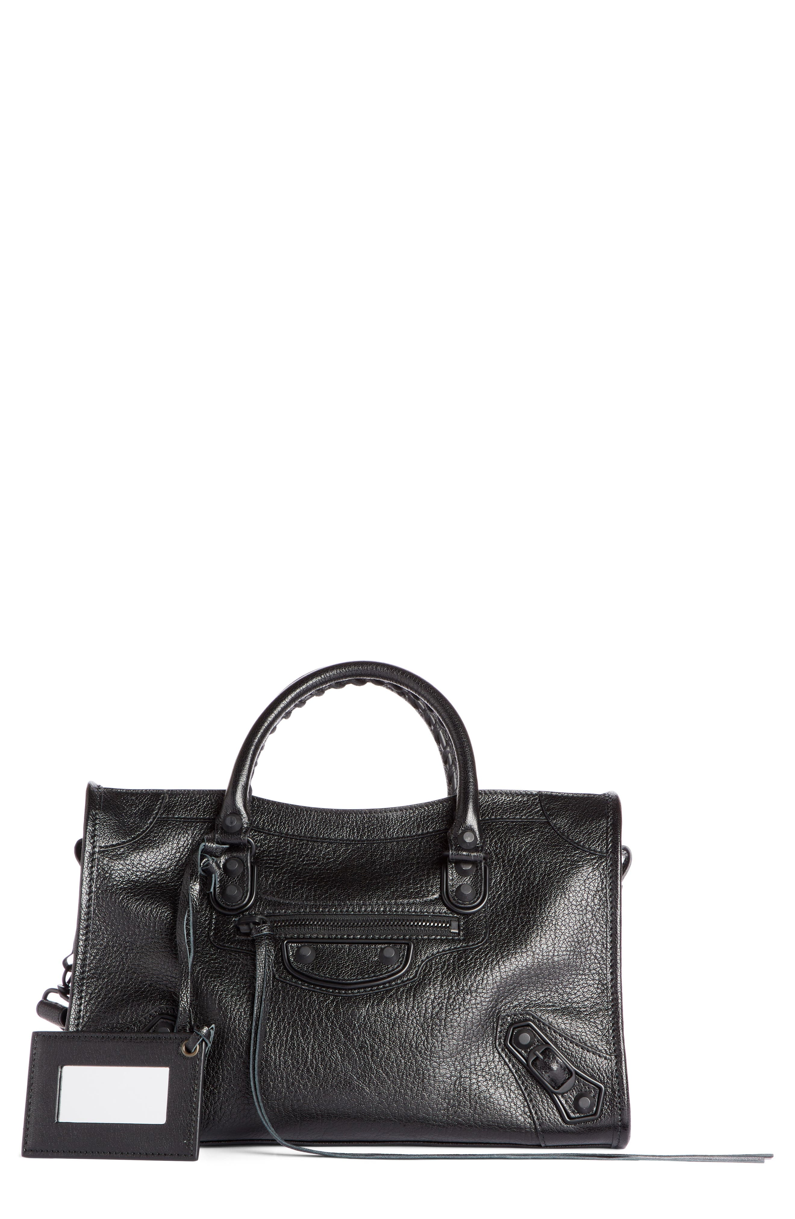 Small Classic City Leather Tote,                         Main,                         color, 001