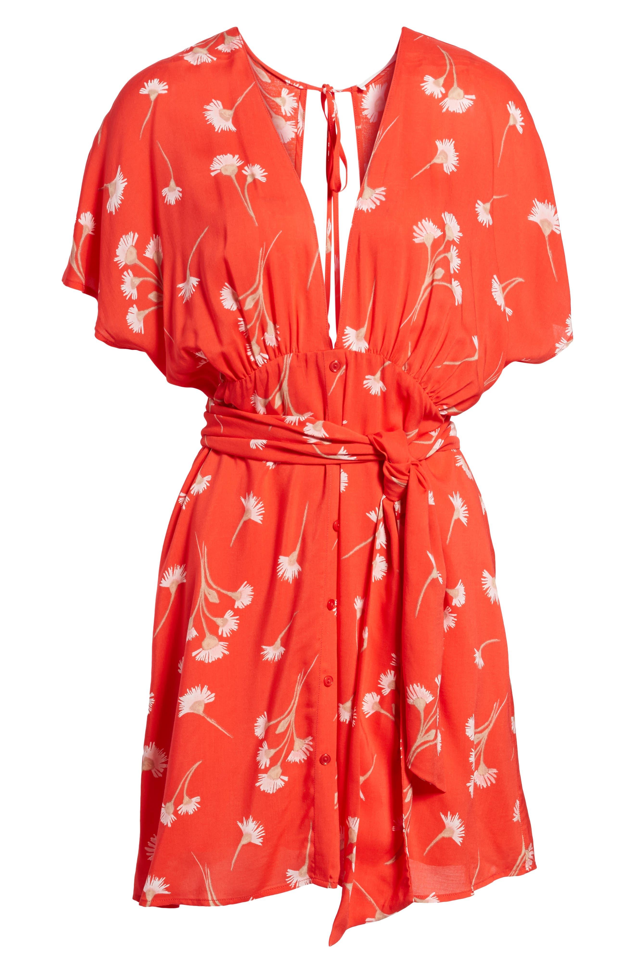 Floral Cutout Back Minidress,                             Alternate thumbnail 6, color,                             601