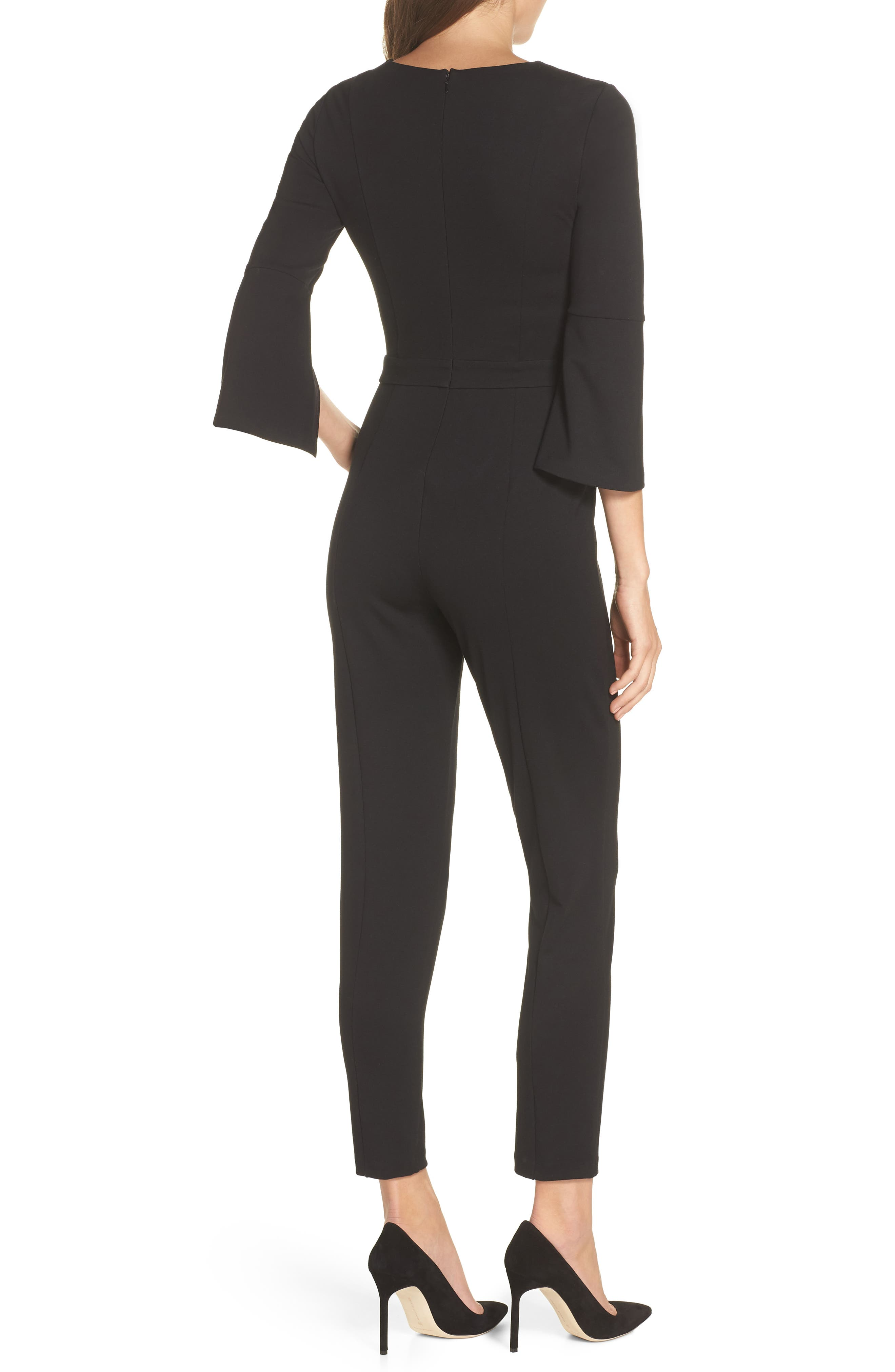 Slit Sleeve Slim Leg Jumpsuit,                             Alternate thumbnail 2, color,                             BLACK