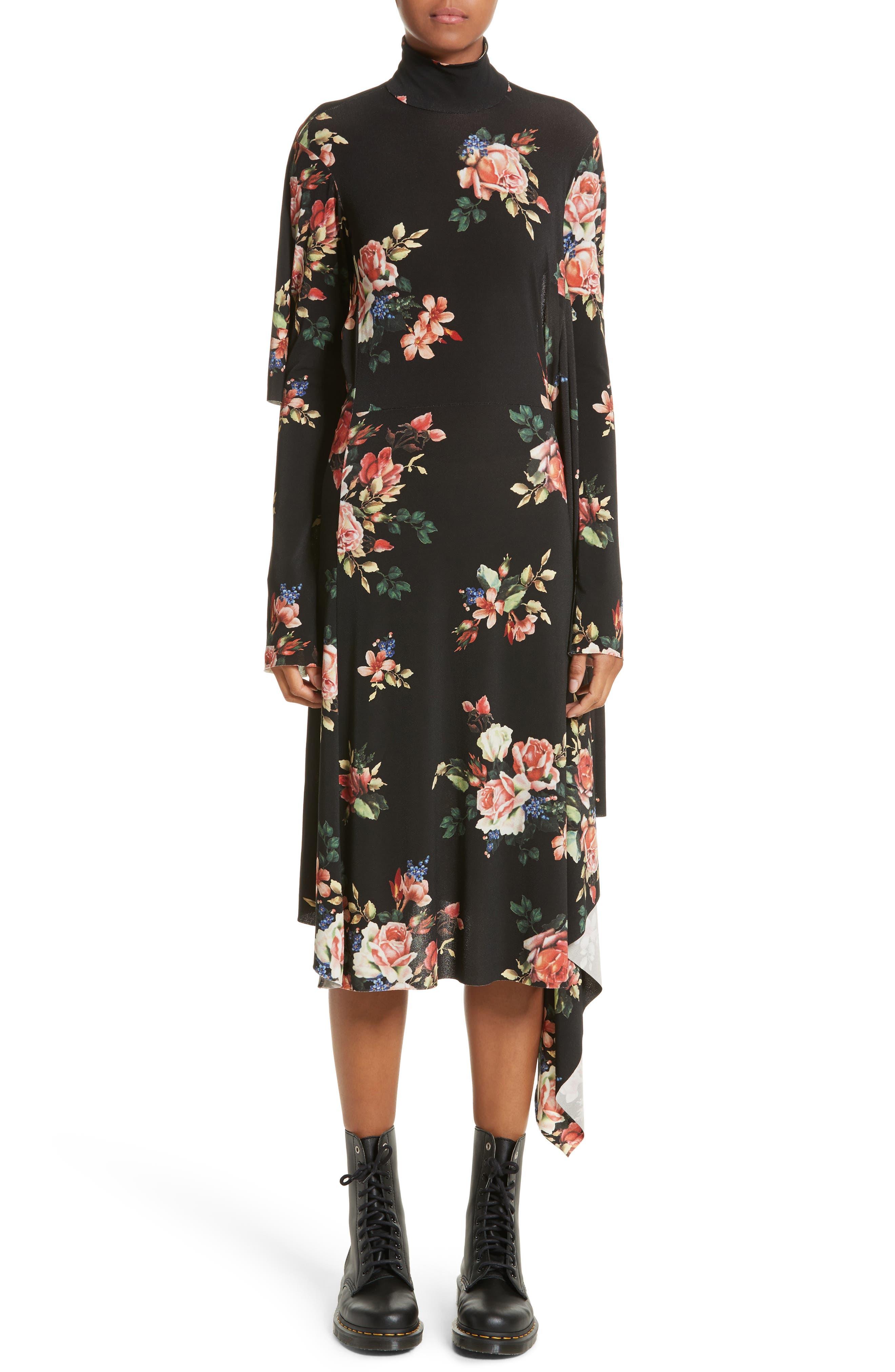 Drape Panel Floral Dress,                         Main,                         color,
