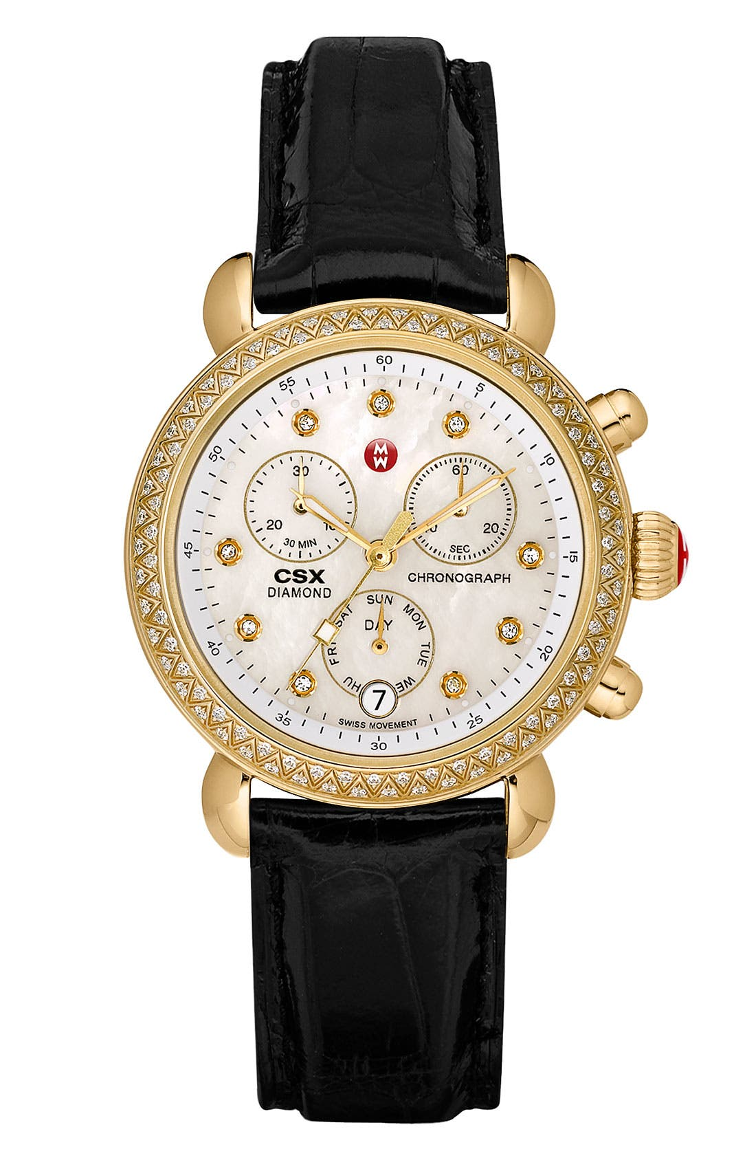 MICHELE,                             'CSX-36 Diamond' Diamond Dial Gold Plated Watch Case, 36mm,                             Alternate thumbnail 4, color,                             710