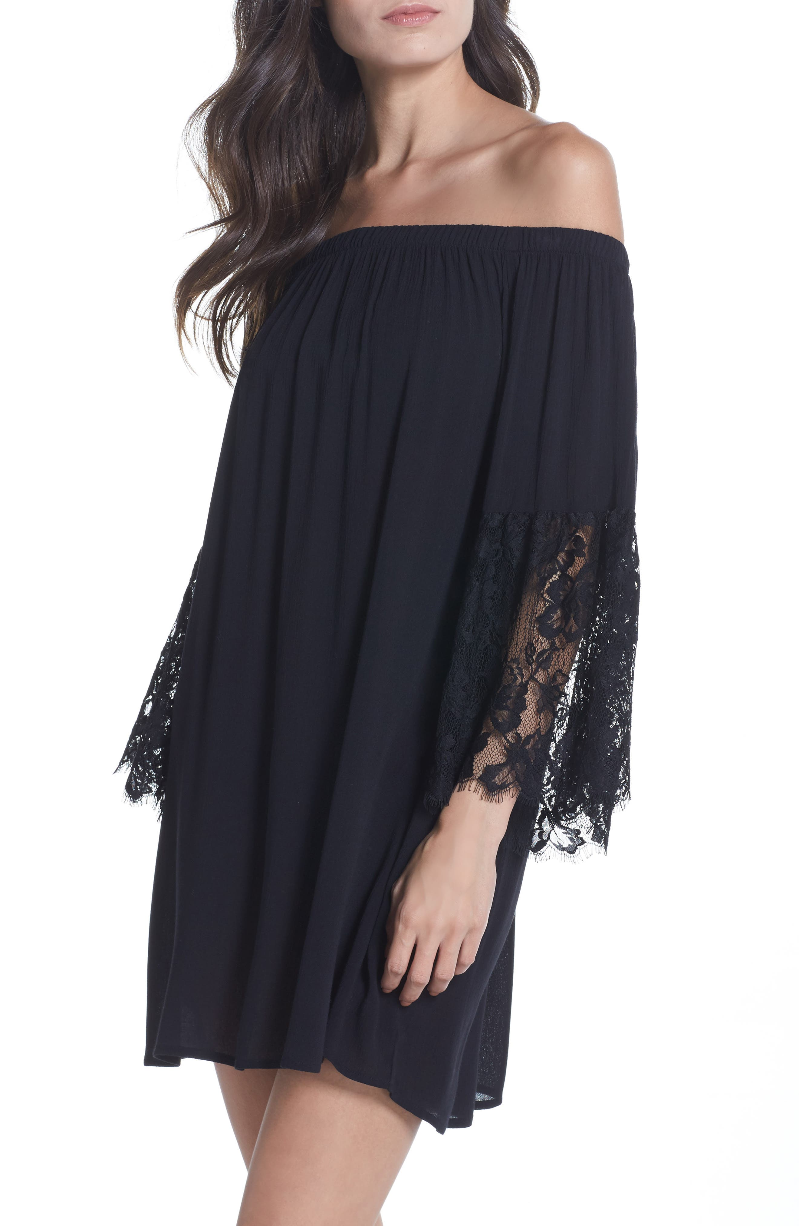 Off the Shoulder Cover-Up Dress,                             Main thumbnail 1, color,                             001