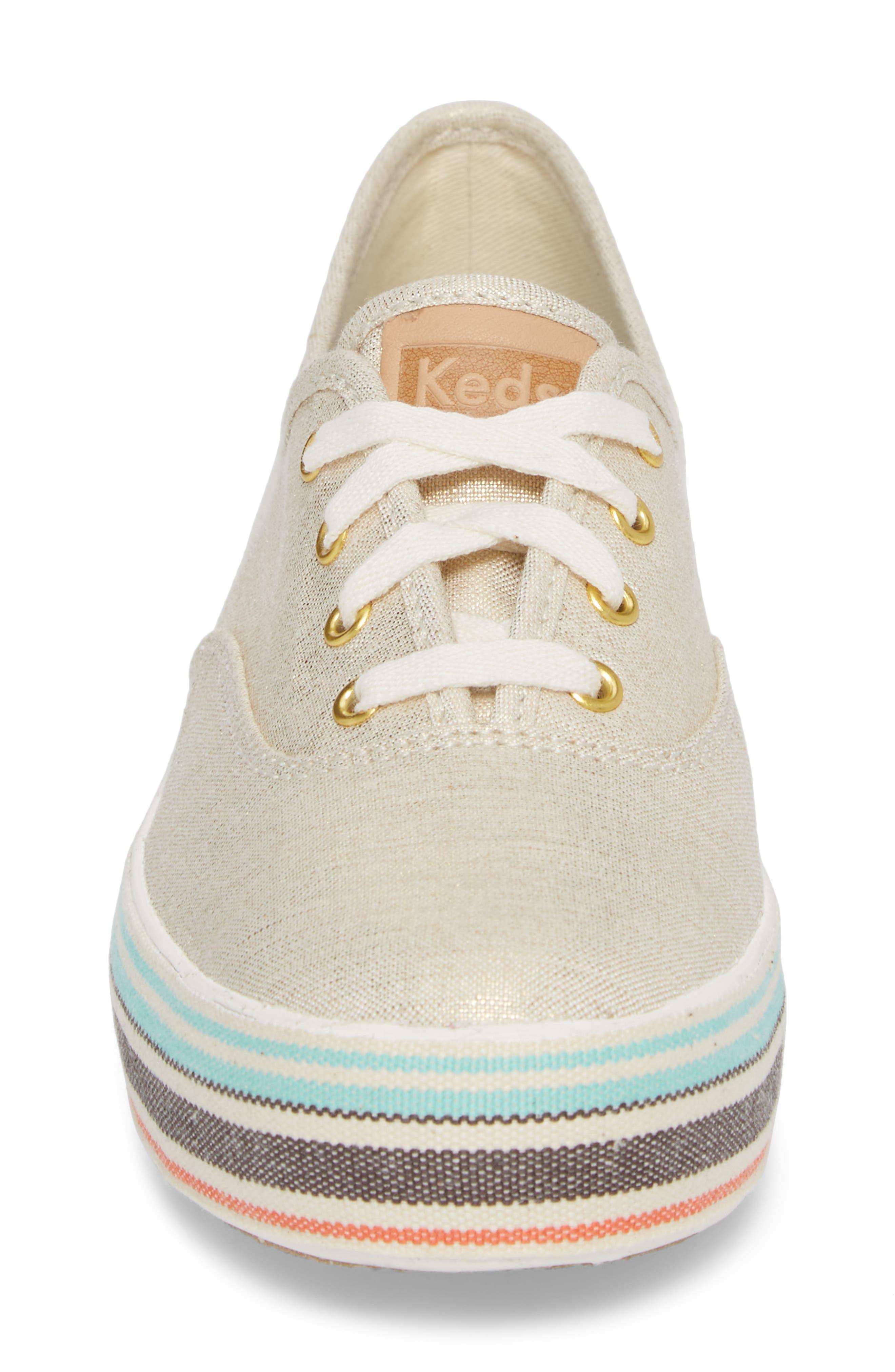 Triple Stripe Foxing Platform Sneaker,                             Alternate thumbnail 4, color,                             250