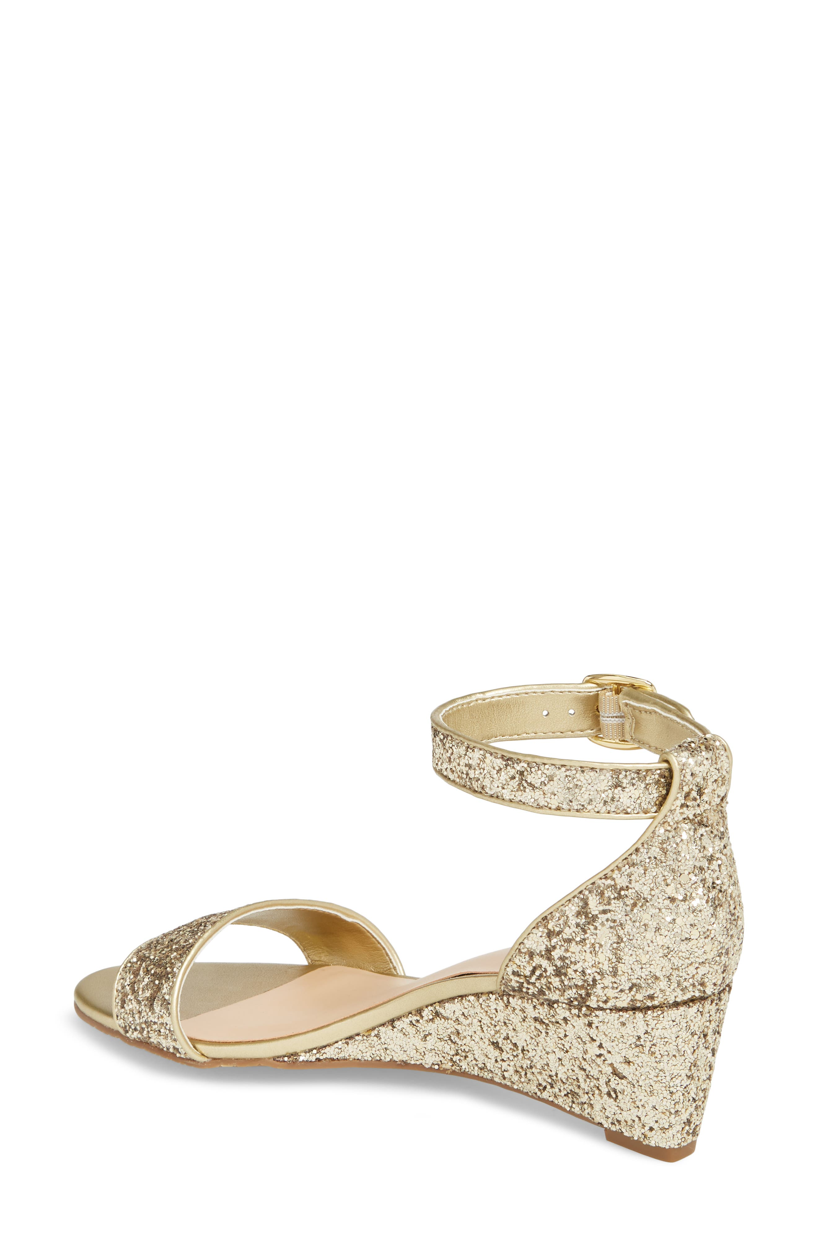 'Roxie' Wedge Sandal,                             Alternate thumbnail 2, color,                             GOLD GLITTER
