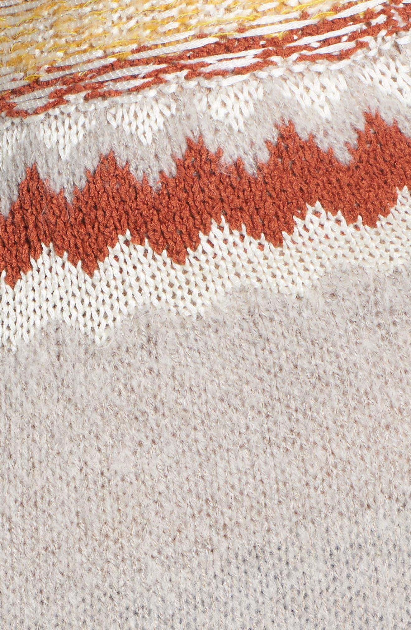 Chunky Jacquard Sweater,                             Alternate thumbnail 5, color,                             TAN COBBLESTONE FOLIAGE PTN