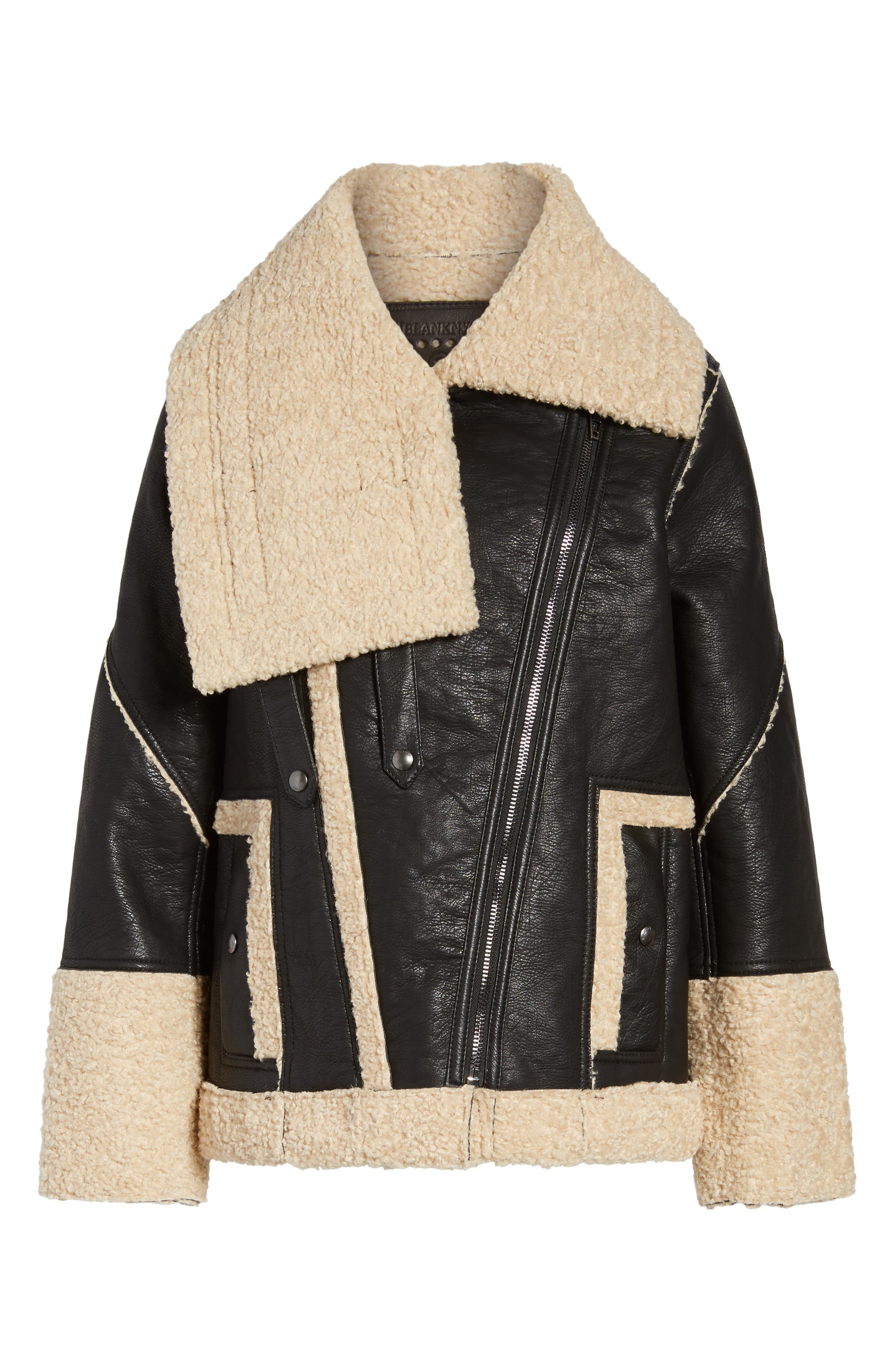 Faux Shearling & Faux Leather Jacket,                             Alternate thumbnail 5, color,