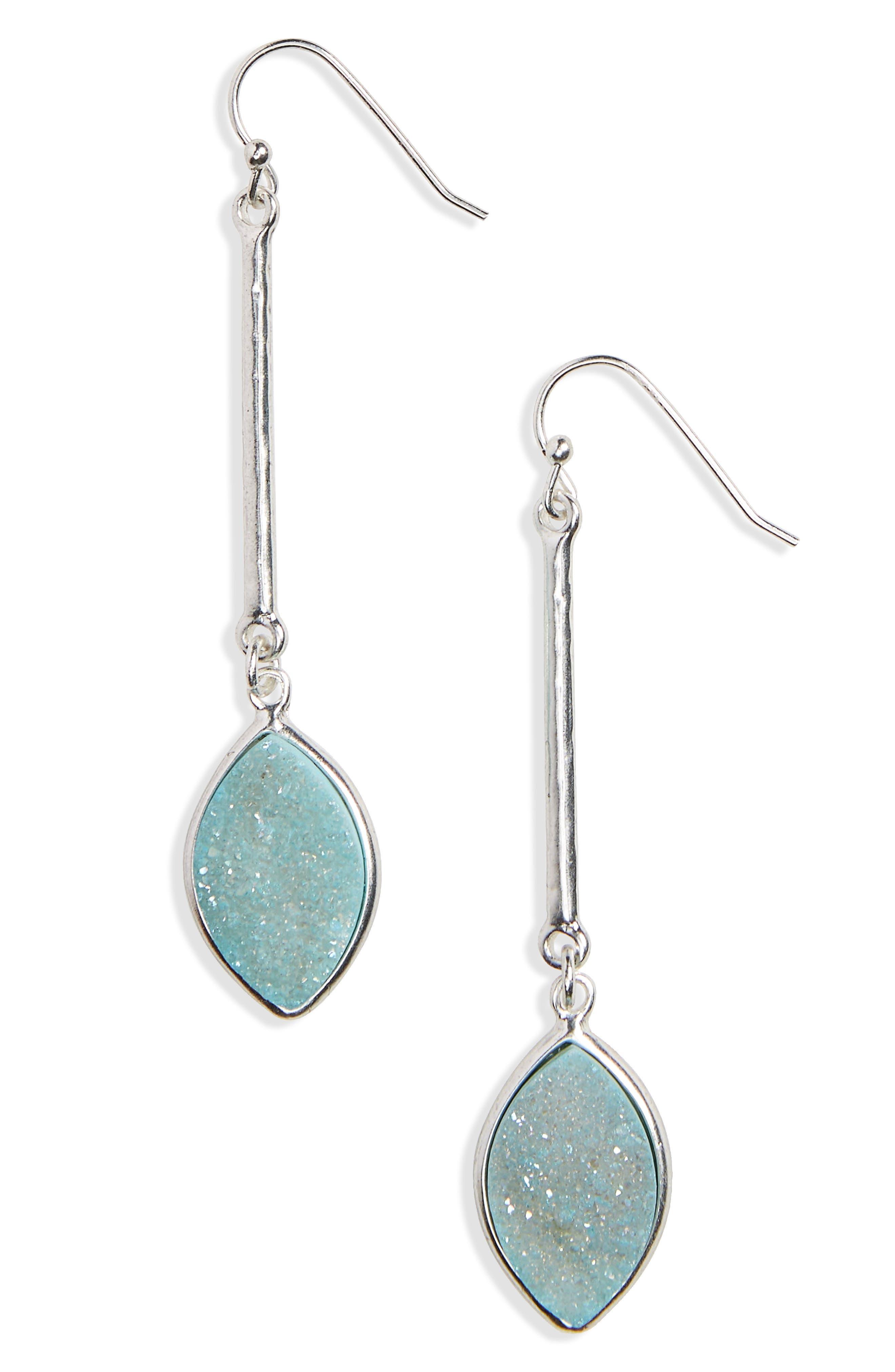 Drusy Linear Drop Earrings,                             Main thumbnail 2, color,