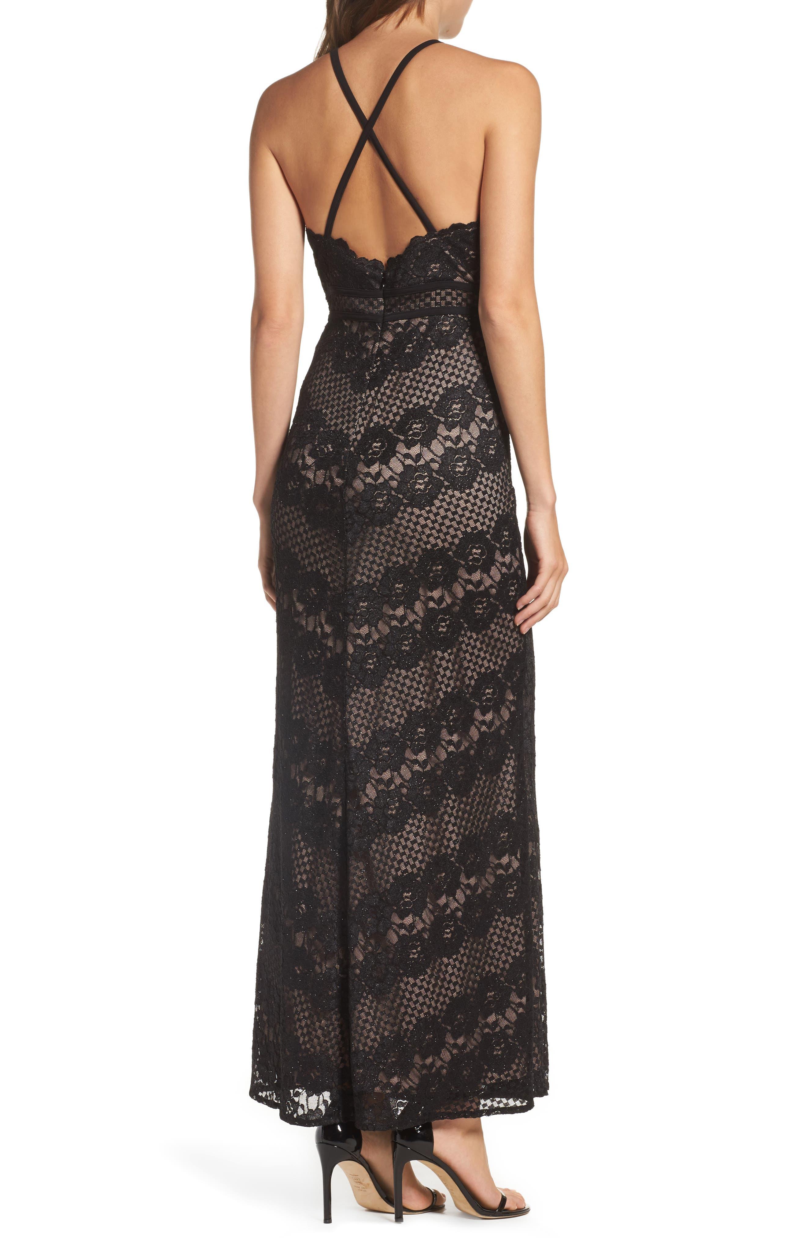 Crisscross Lace Gown,                             Alternate thumbnail 2, color,                             BLACK/ NUDE