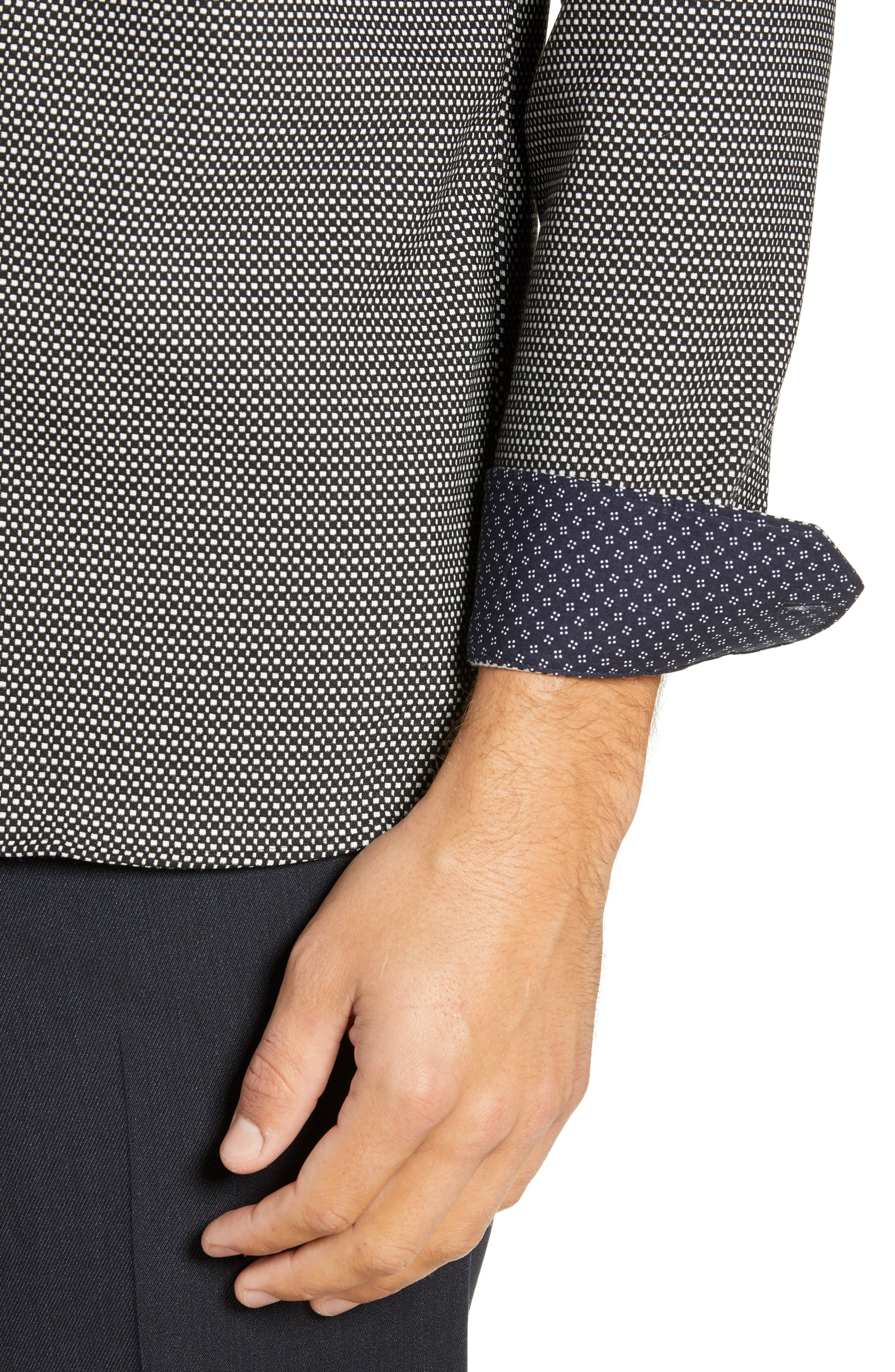 Wapping Slim Fit Textured Shirt,                             Alternate thumbnail 2, color,                             BLACK