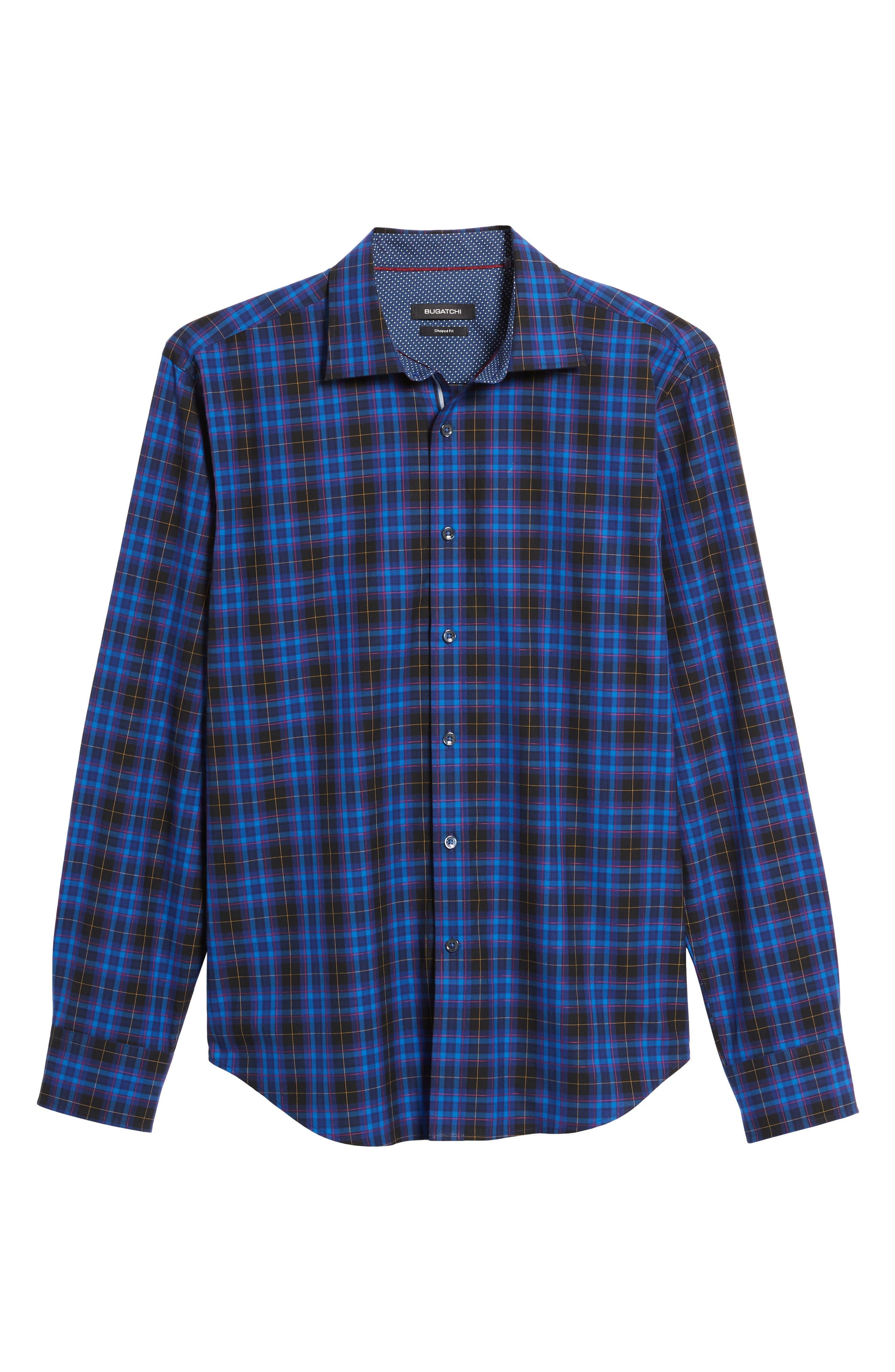 Shaped Fit Plaid Sport Shirt,                             Alternate thumbnail 6, color,                             411
