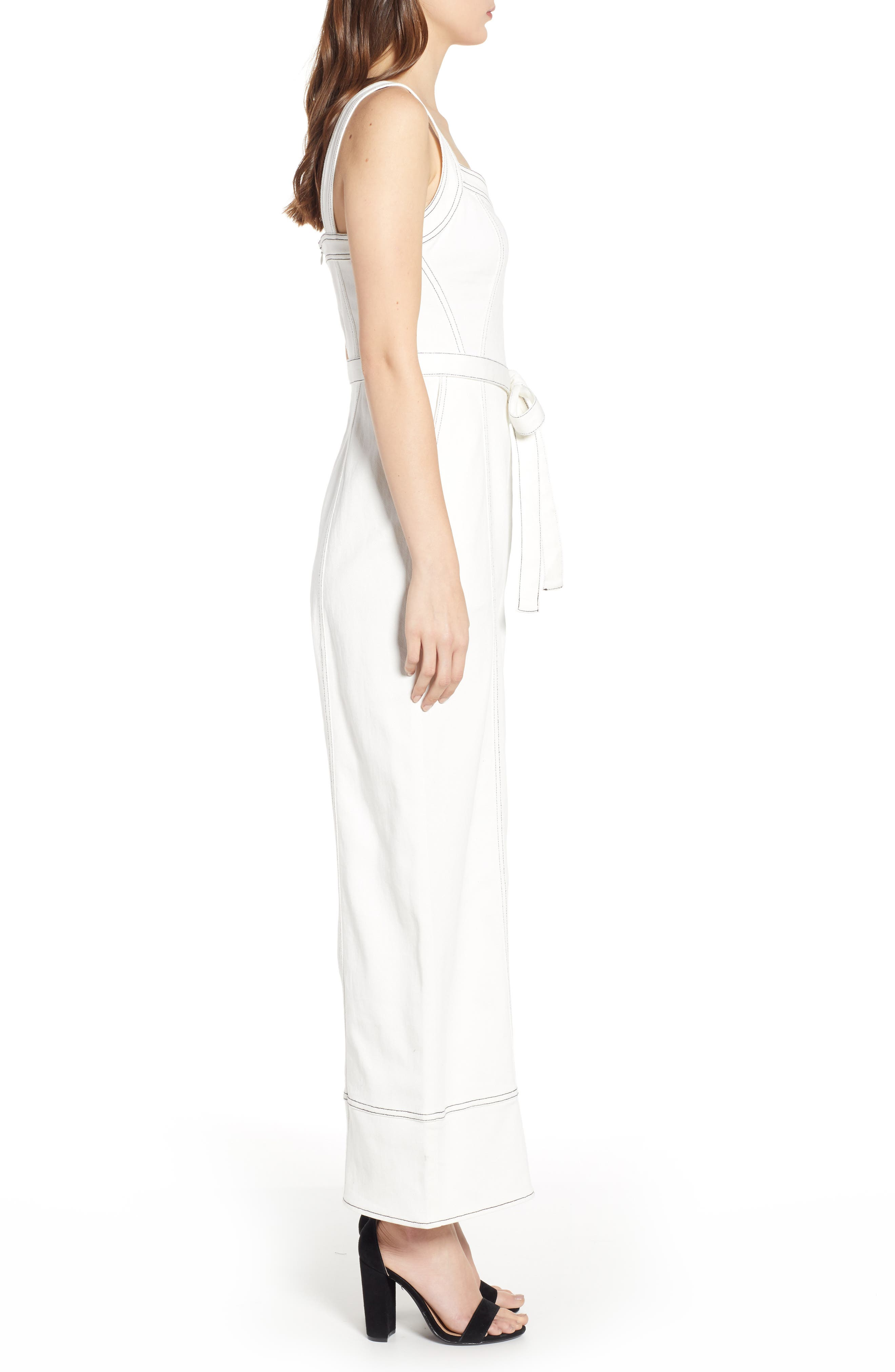 Moya Topstitch Detail Jumpsuit,                             Alternate thumbnail 3, color,                             WHITE