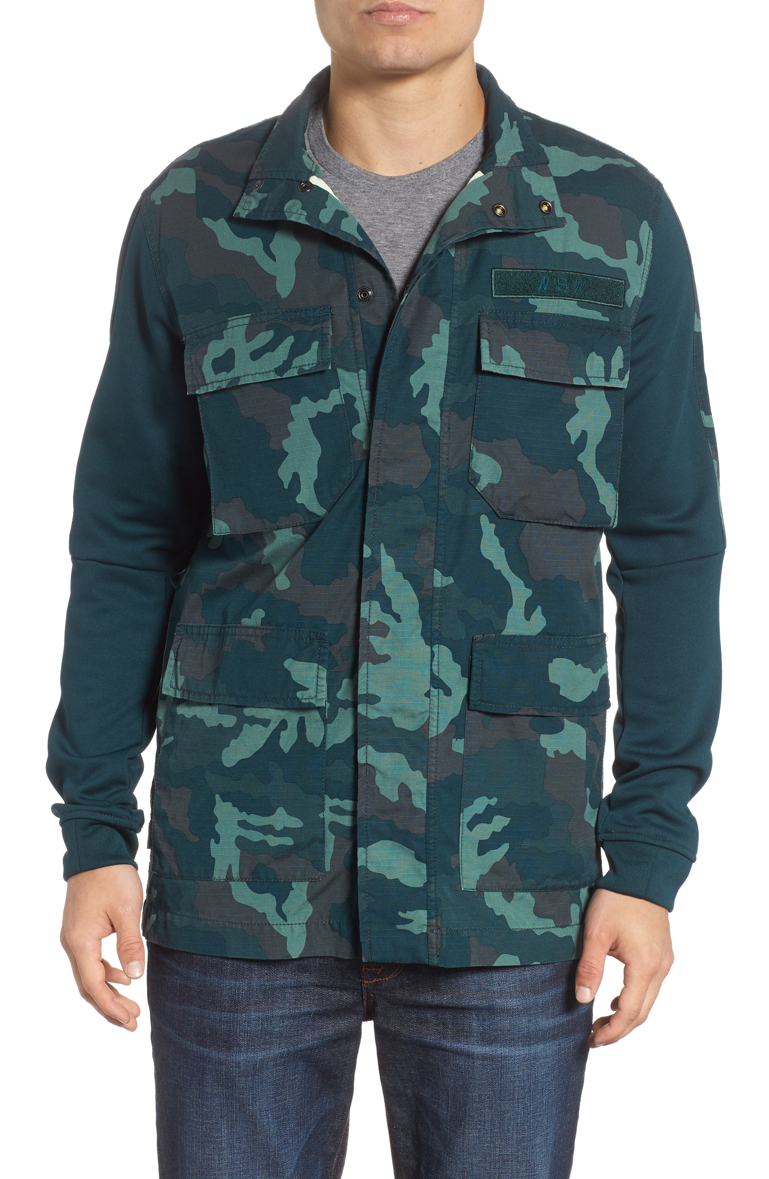 NSW Lightweight Camo Field Jacket,                         Main,                         color, MIDNIGHT SPRUCE