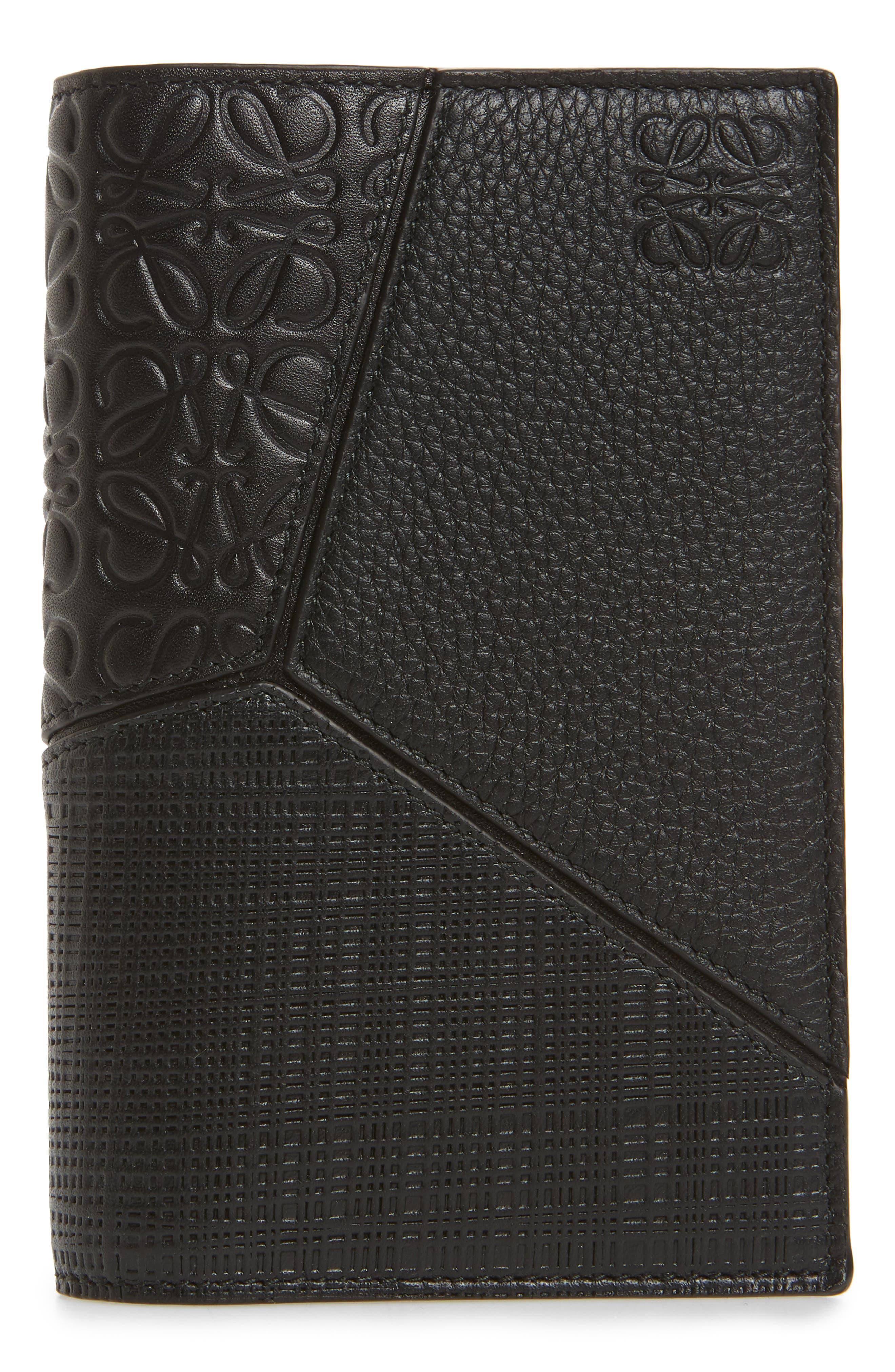 Leather Puzzle Passport Case,                         Main,                         color, BLACK