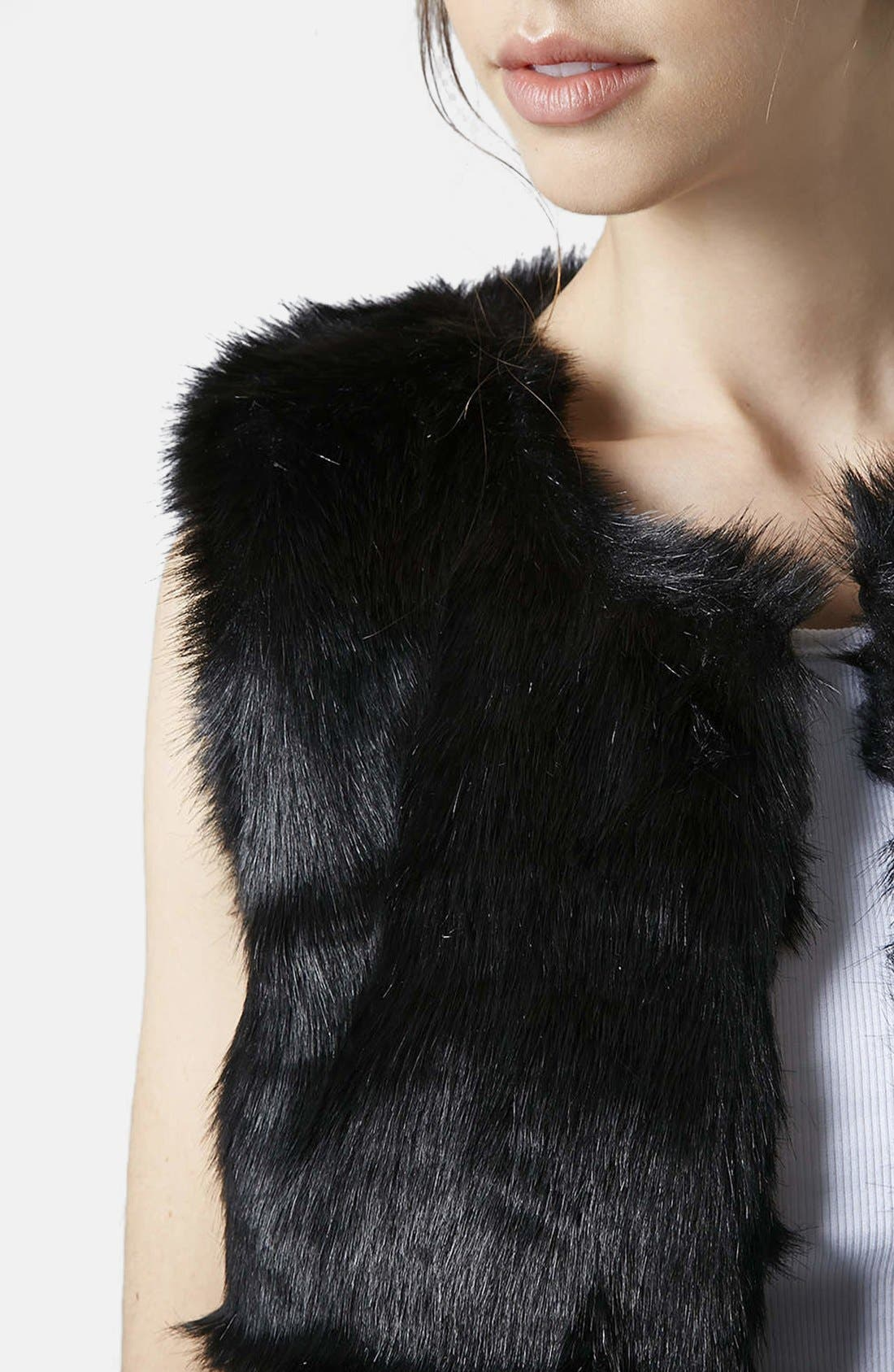 Faux Fur Gilet Vest,                             Alternate thumbnail 2, color,                             001