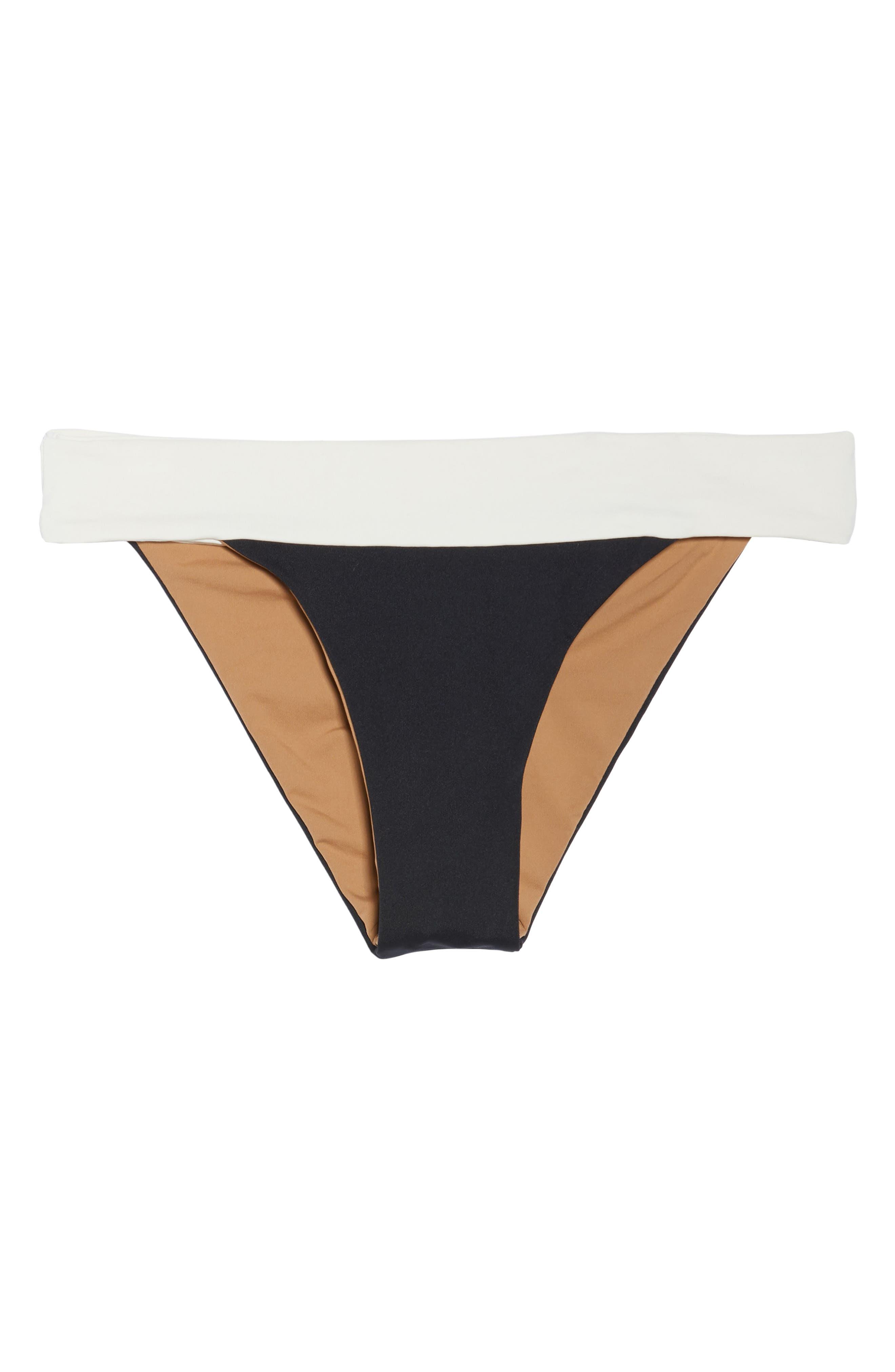 Reversible Bikini Bottom,                             Alternate thumbnail 6, color,                             CREAM/ BLACK/ CAMEL