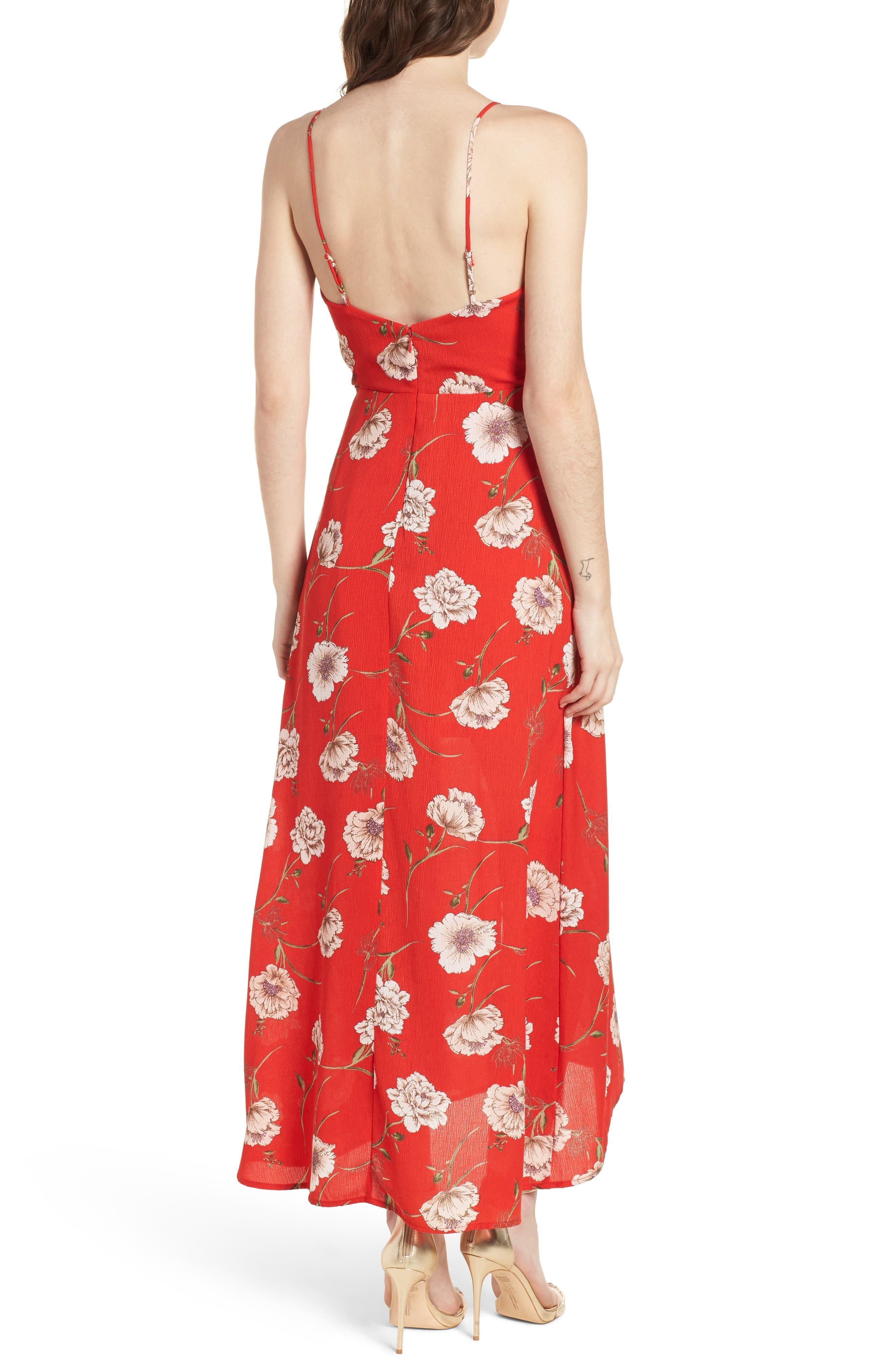 Floral Print Maxi Dress,                             Alternate thumbnail 2, color,                             600
