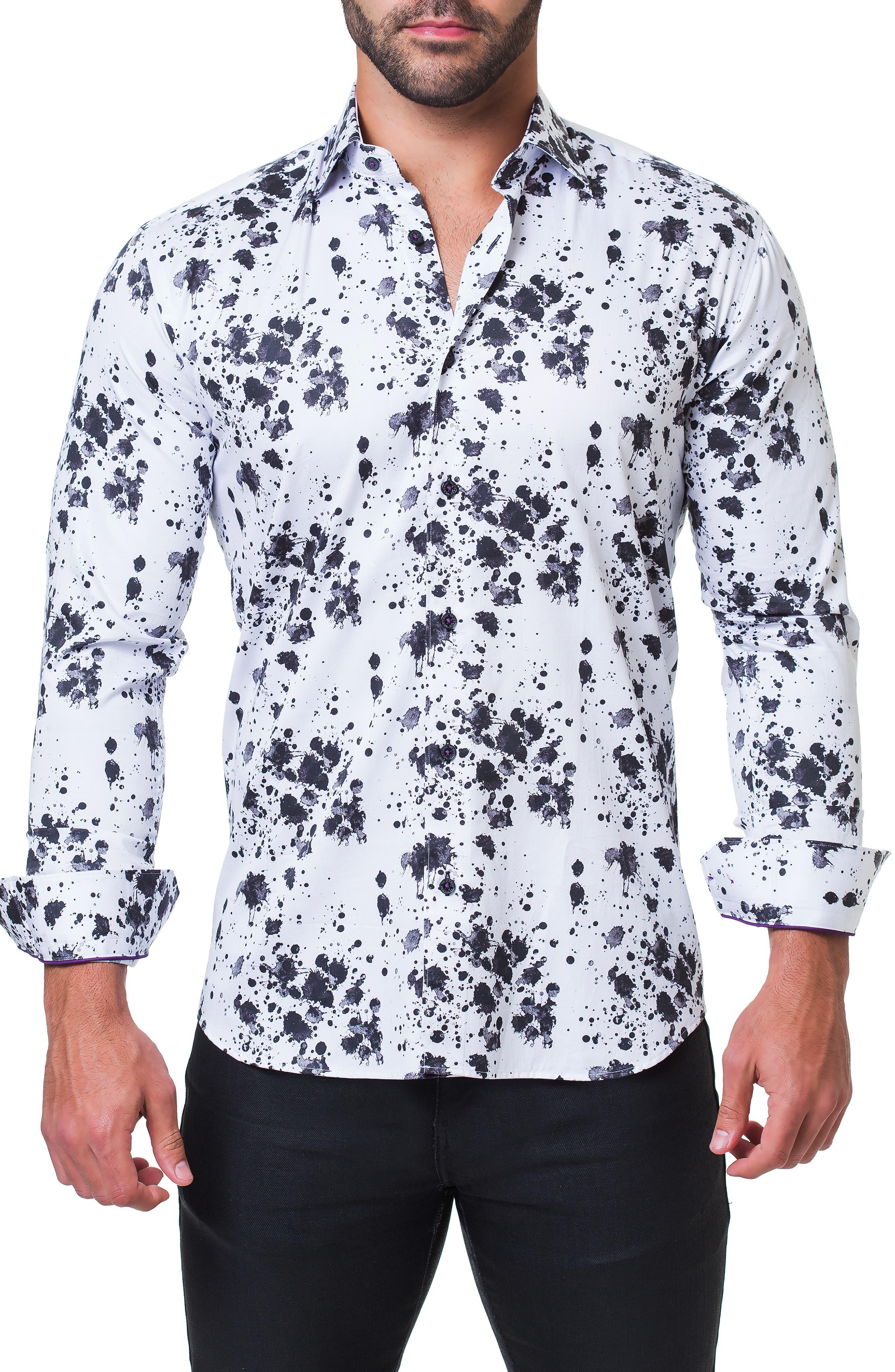 Fibonacci Splash Print Sport Shirt,                             Alternate thumbnail 4, color,                             BLACK