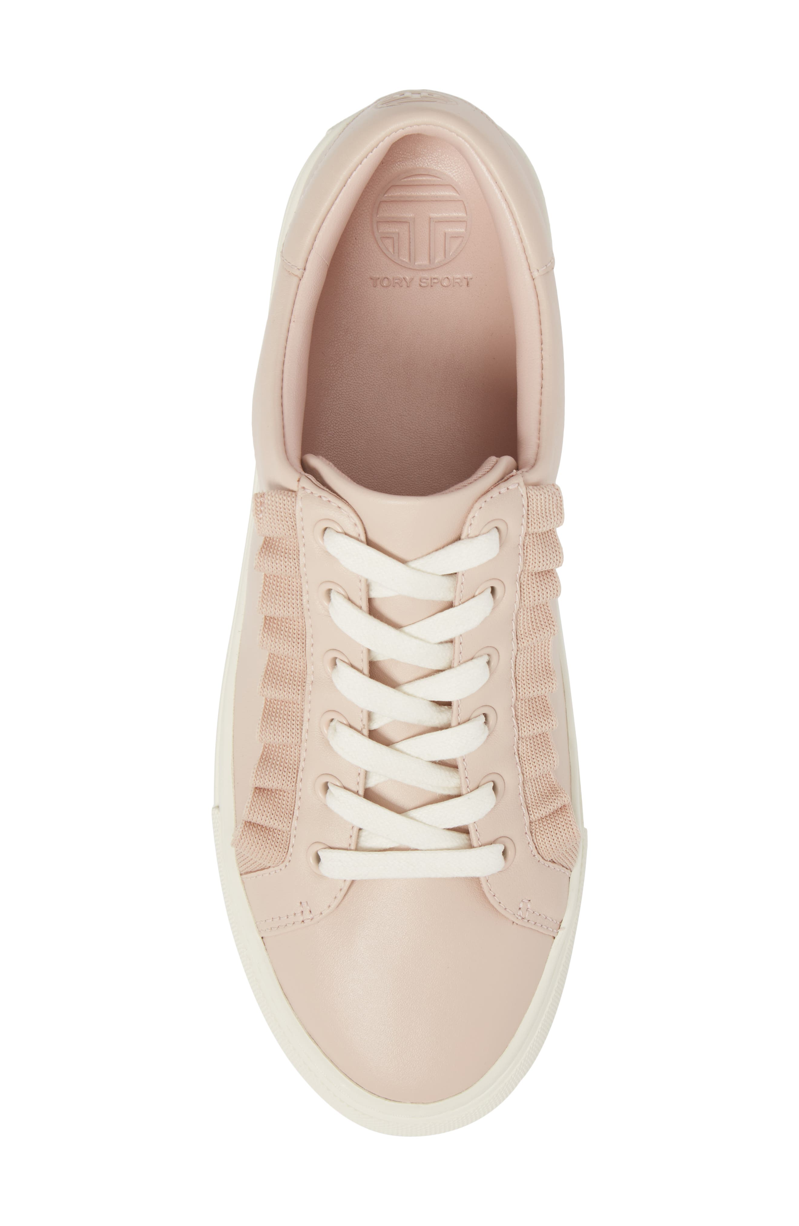 Ruffle Sneaker,                             Alternate thumbnail 5, color,                             SHELL PINK